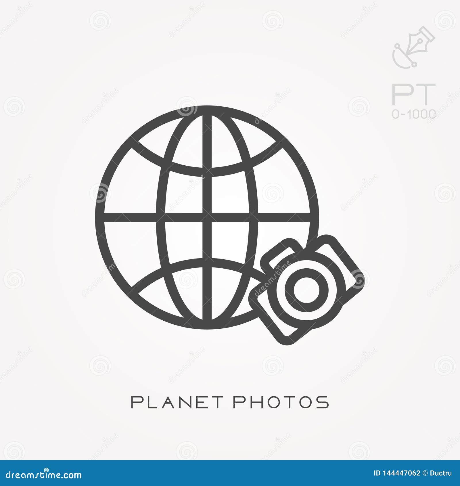 Icônes plates de vecteur avec des photos de planète