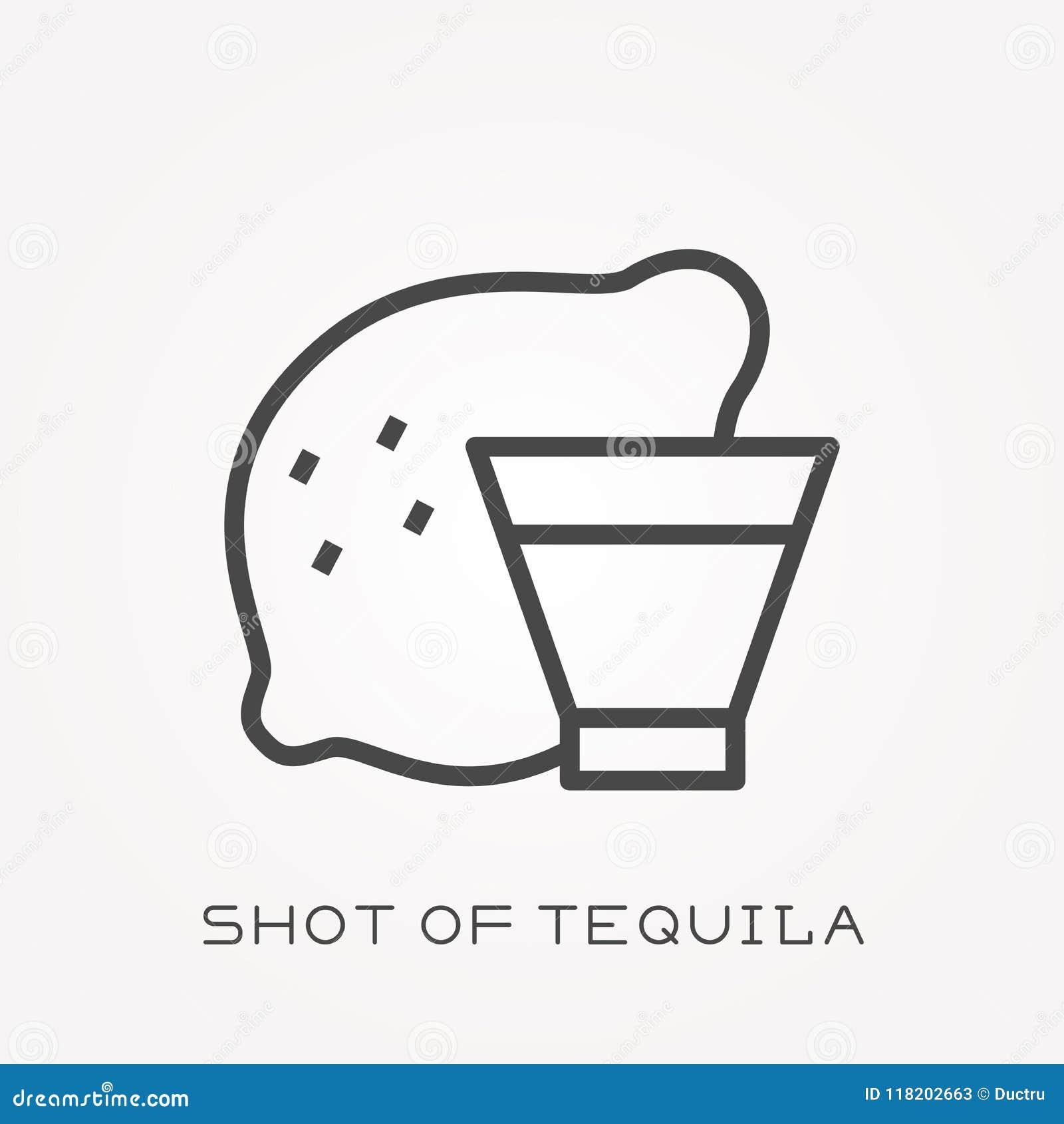 Icônes plates de vecteur avec le tir de la tequila