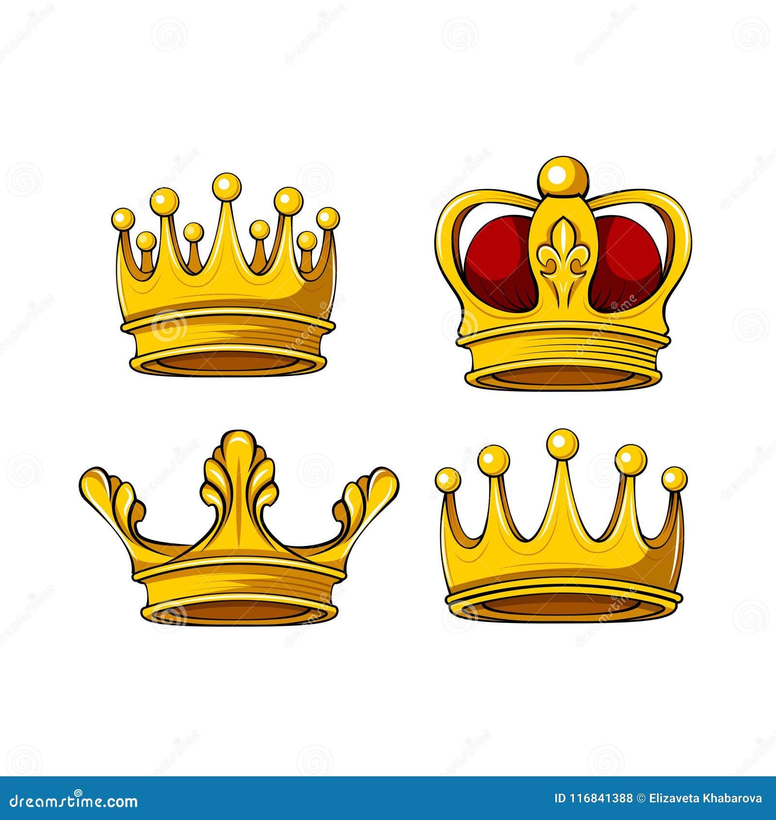 Icônes royales de couronne de bande dessinée réglées Dirigez le roi, reine, prince, attributs de princesse Éléments de conception