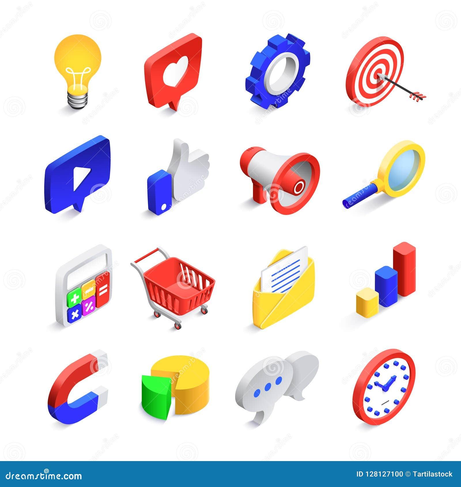 Icônes sociales de la vente 3d Le seo isométrique de Web aime le signe, le réseau de courrier d affaires et l icône de vecteur de