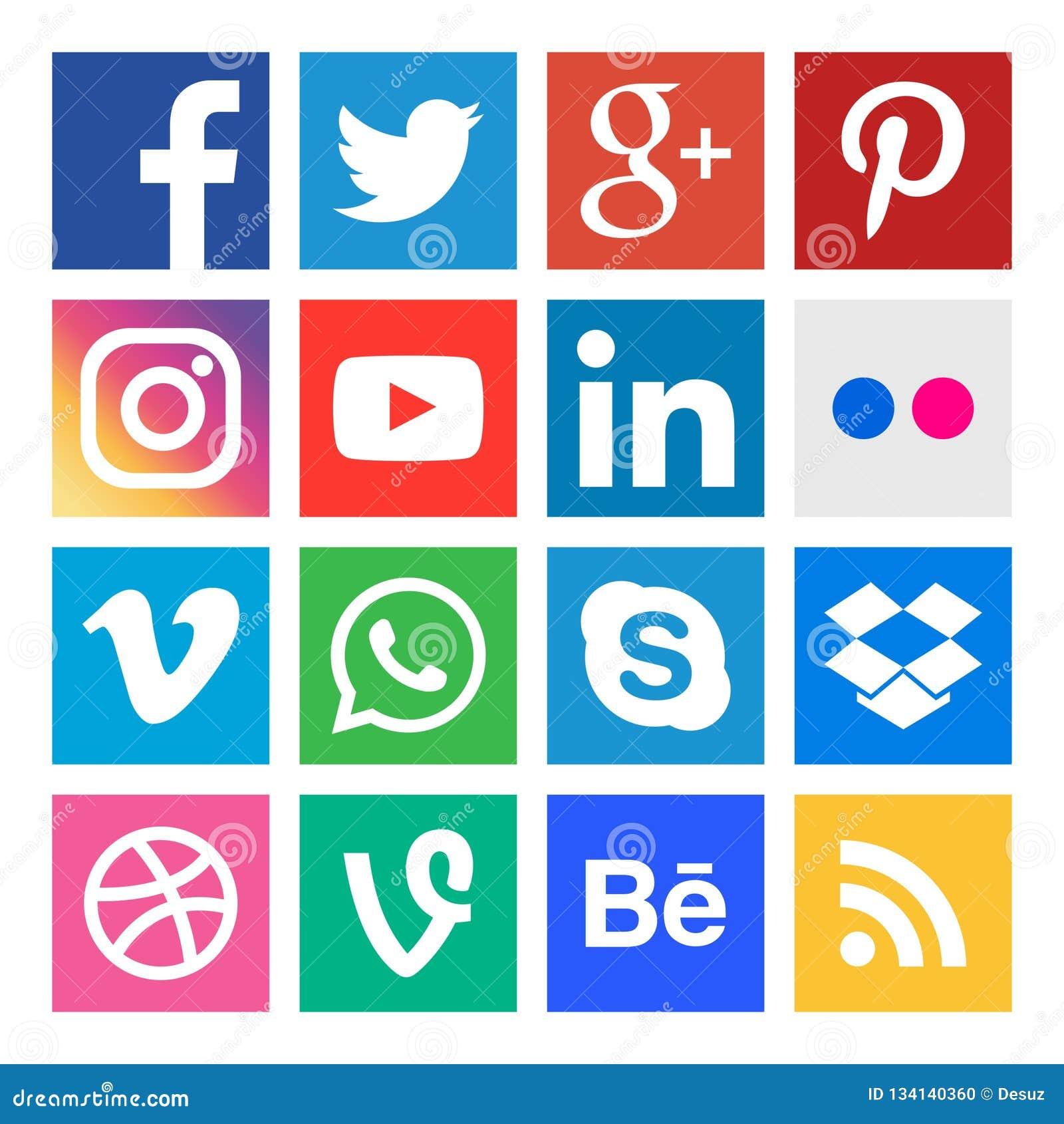 Icônes sociales de media Boutonne la collection dans le vecteur