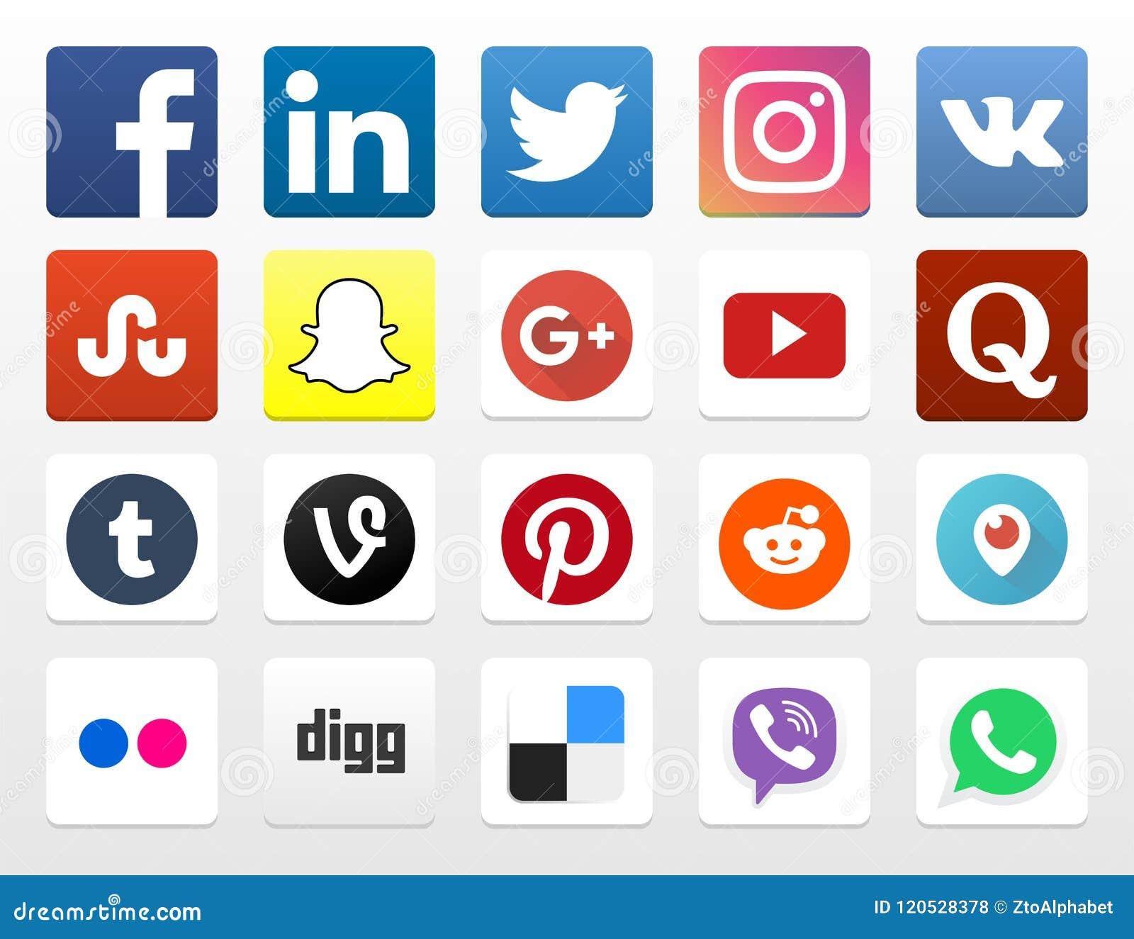 20 icônes sociales populaires de la mise en réseau APP