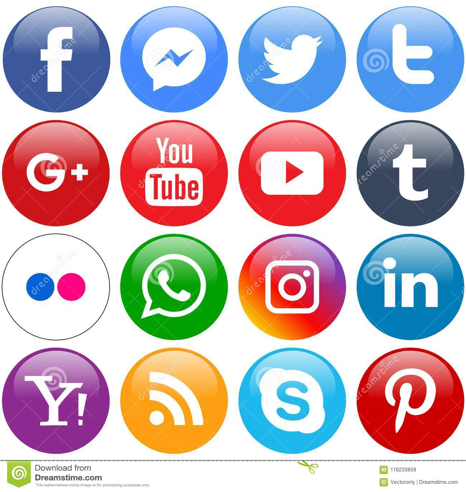 Icônes sociales populaires de media réglées en rond