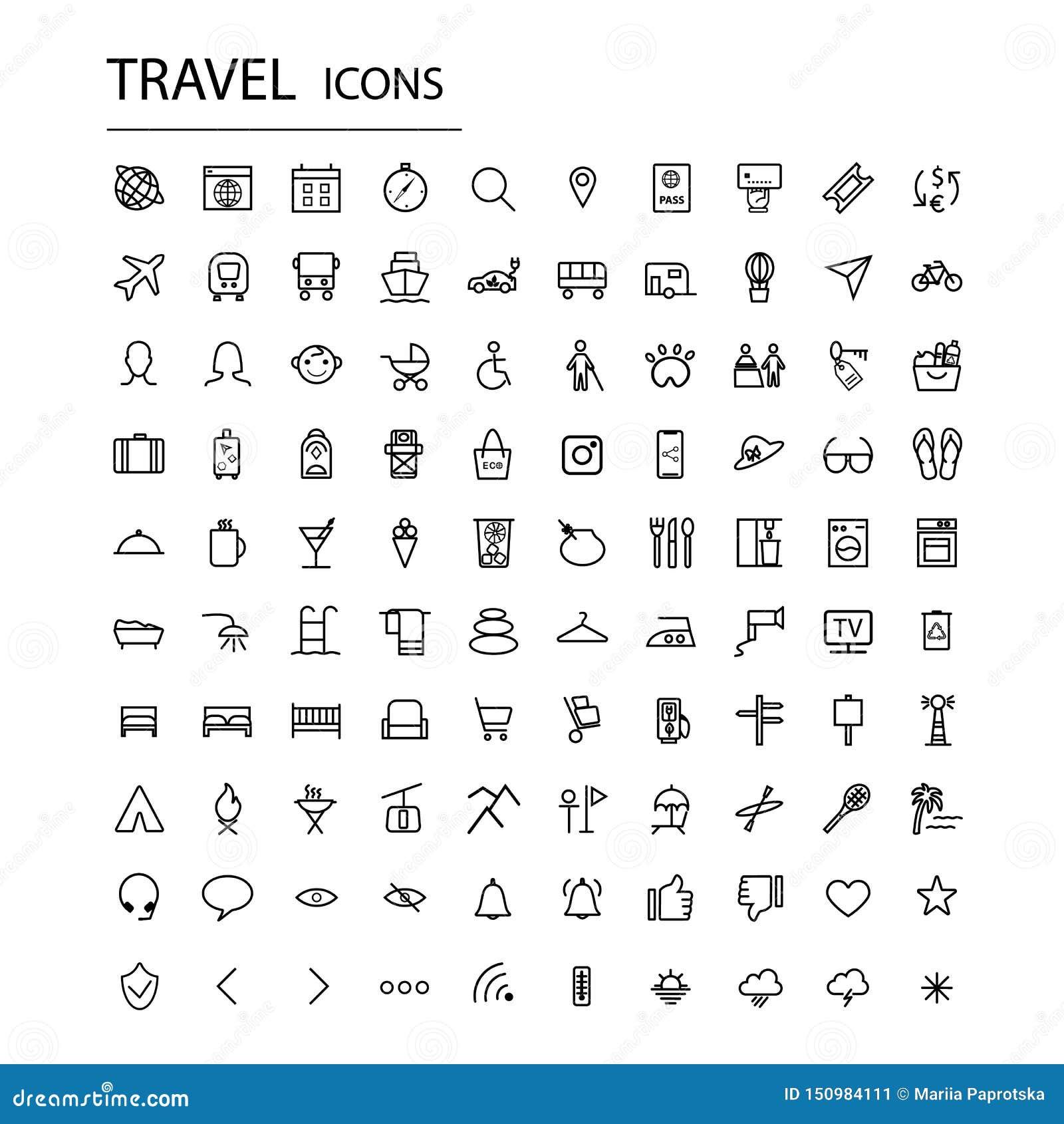Icônes universelles réglées de voyage Icônes modernes de tourisme