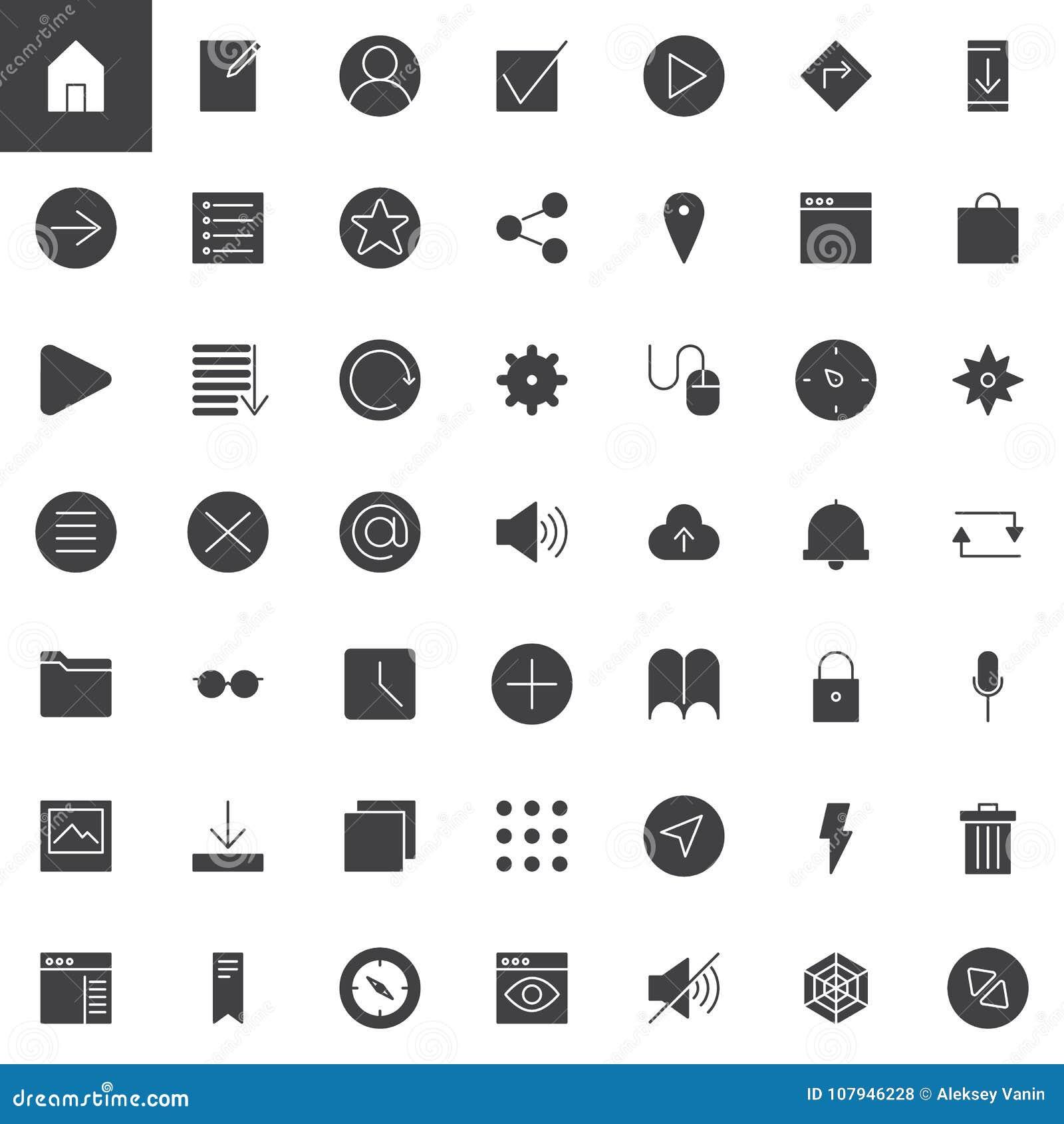 Icônes universelles simples de vecteur de Web réglées