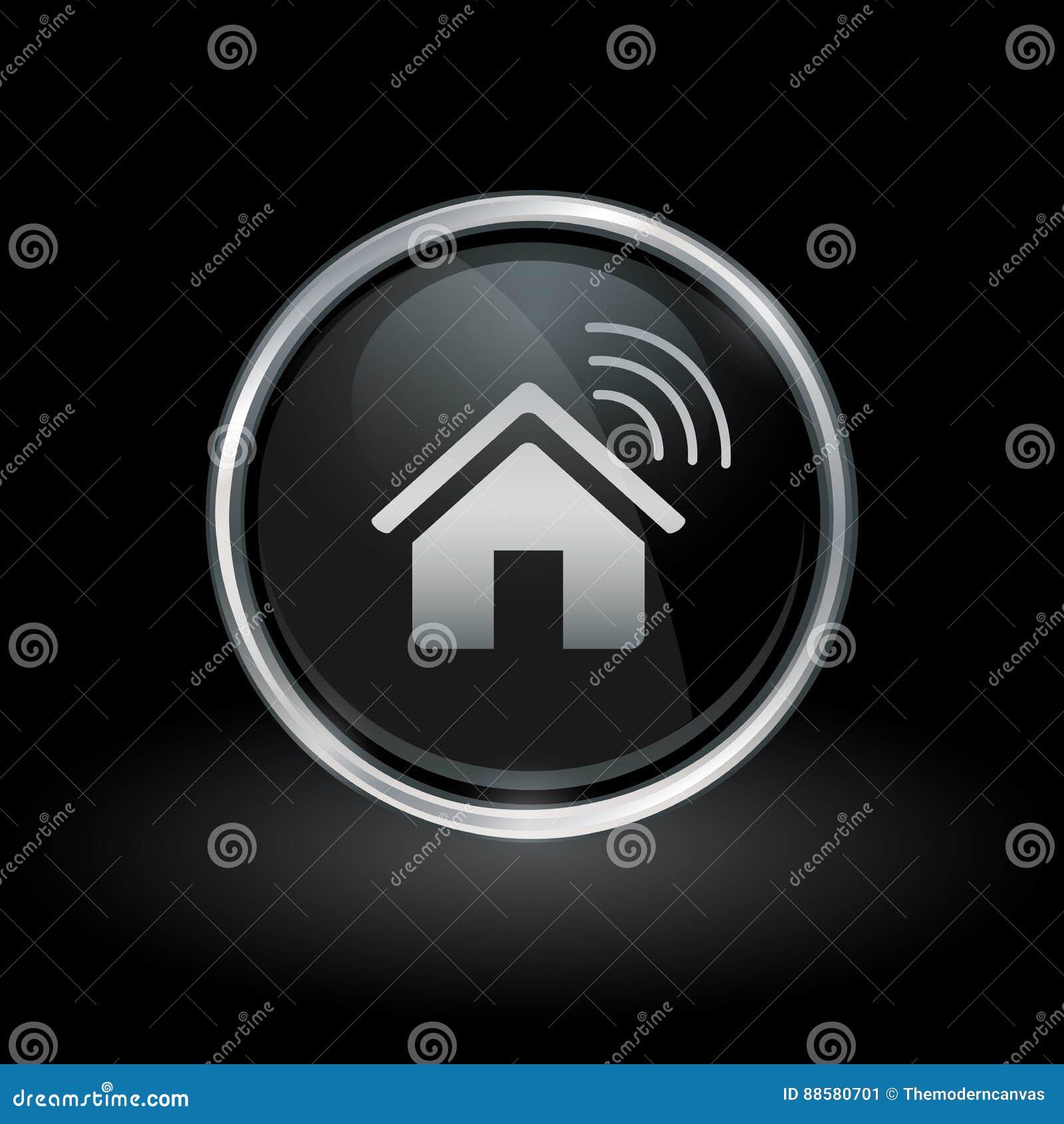 Icône à la maison futée sans fil à l intérieur d argent rond et d emblème noir