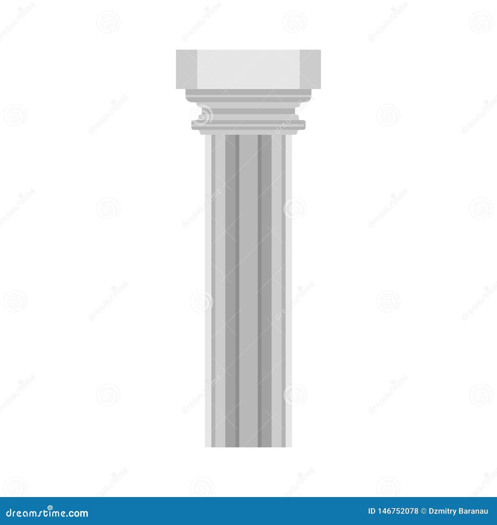 Ic?ne architecturale de vecteur d ?l?ment de monument classique de symbole d histoire de colonne Barre de marbre ext?rieure de sc