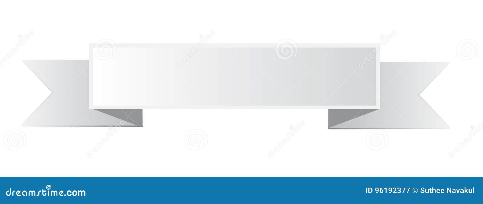 Parfait Icône Blanche De Bannière De Ruban Sur Le Fond Blanc Illustration  AC75