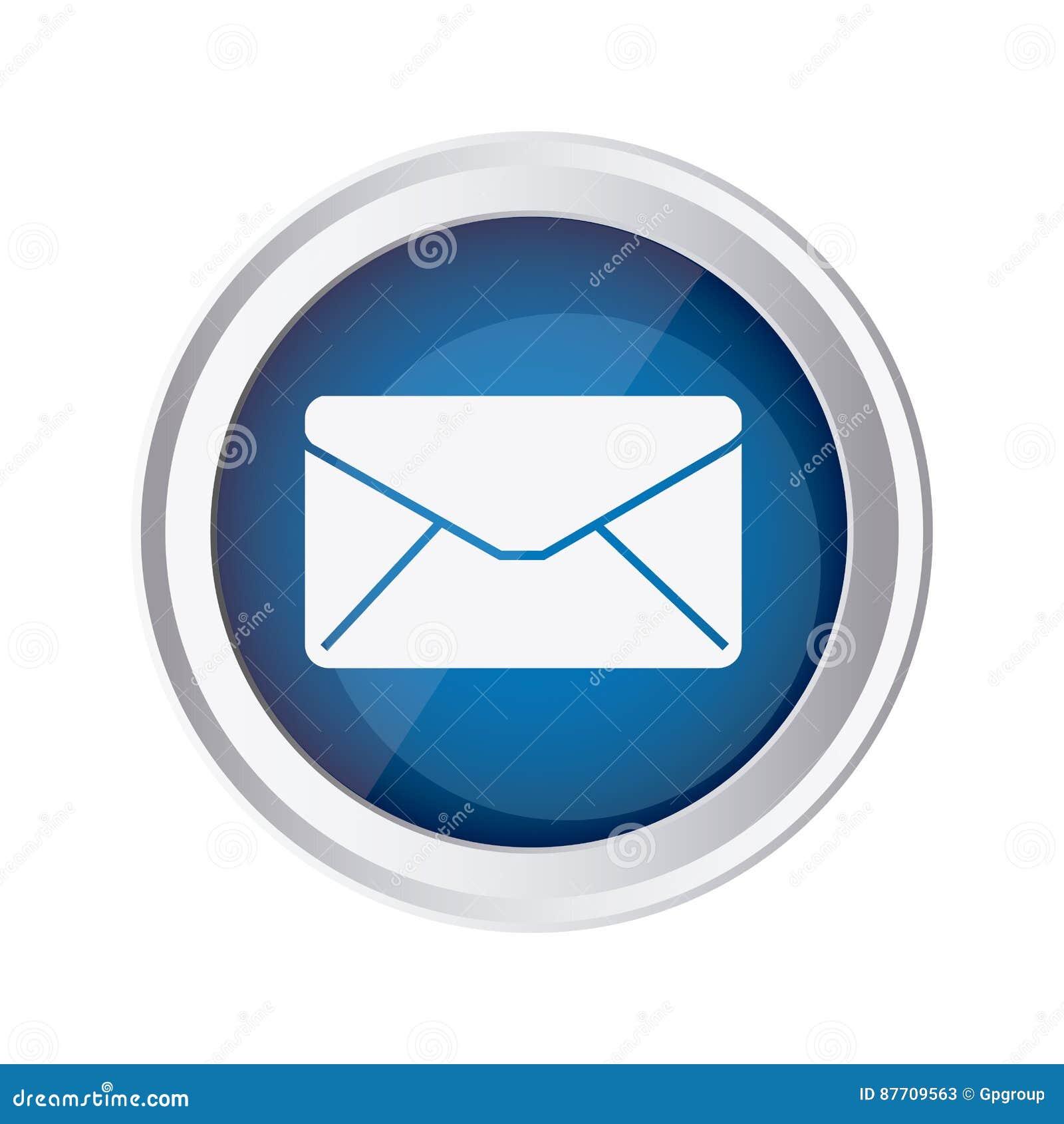 Icône bleue d enveloppe de message de fin d emblème