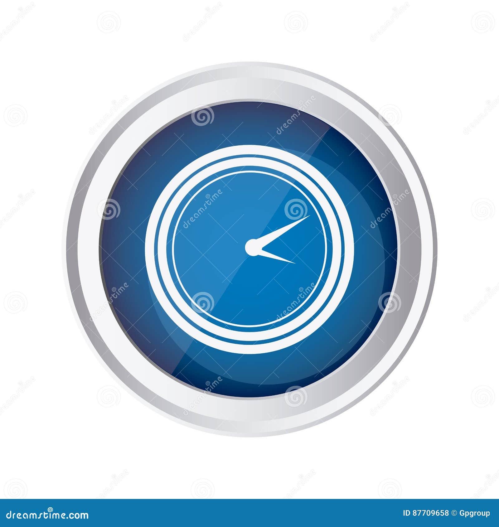 Icône bleue d horloge d emblème