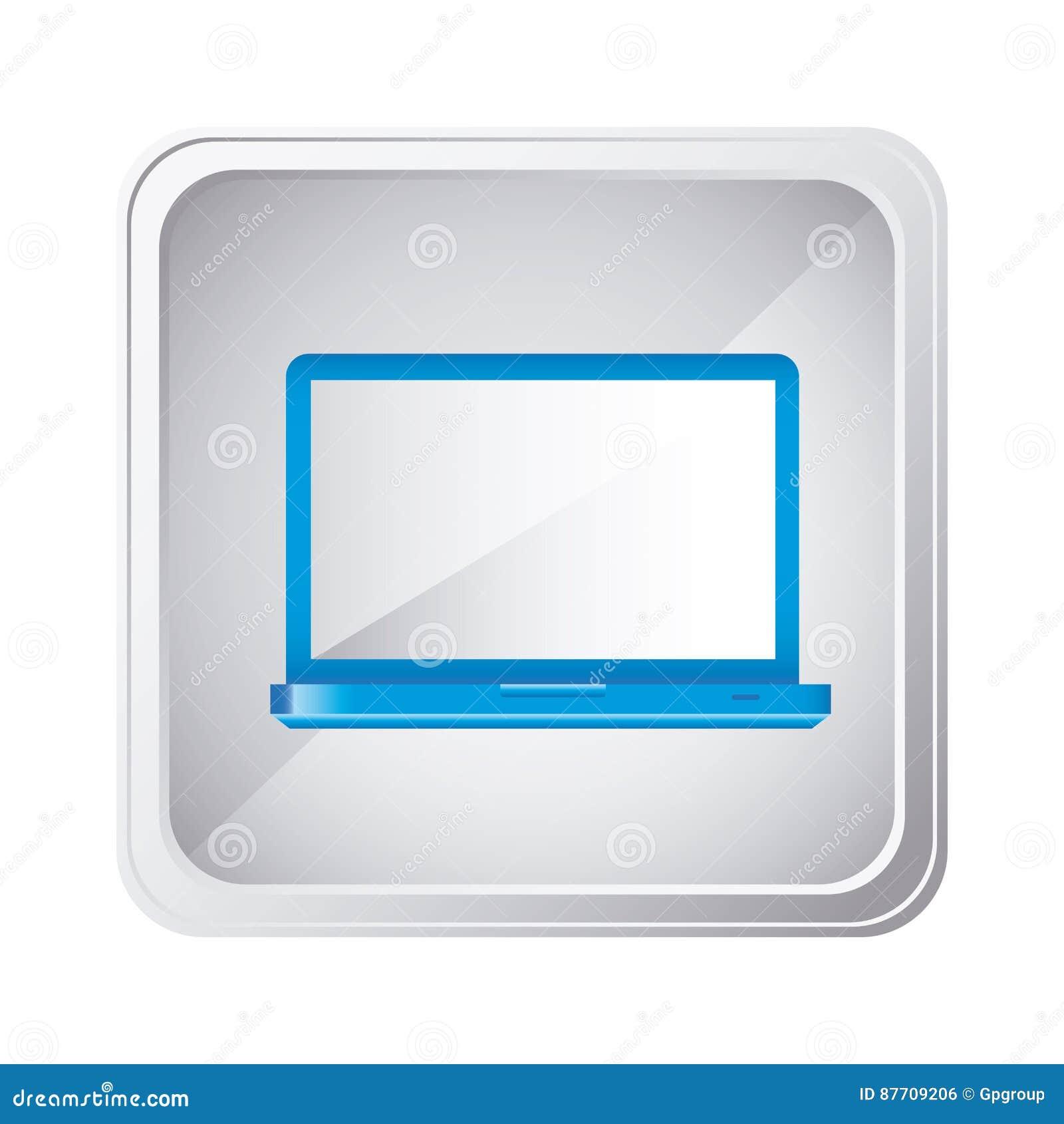Icône bleue d ordinateur portable d emblème