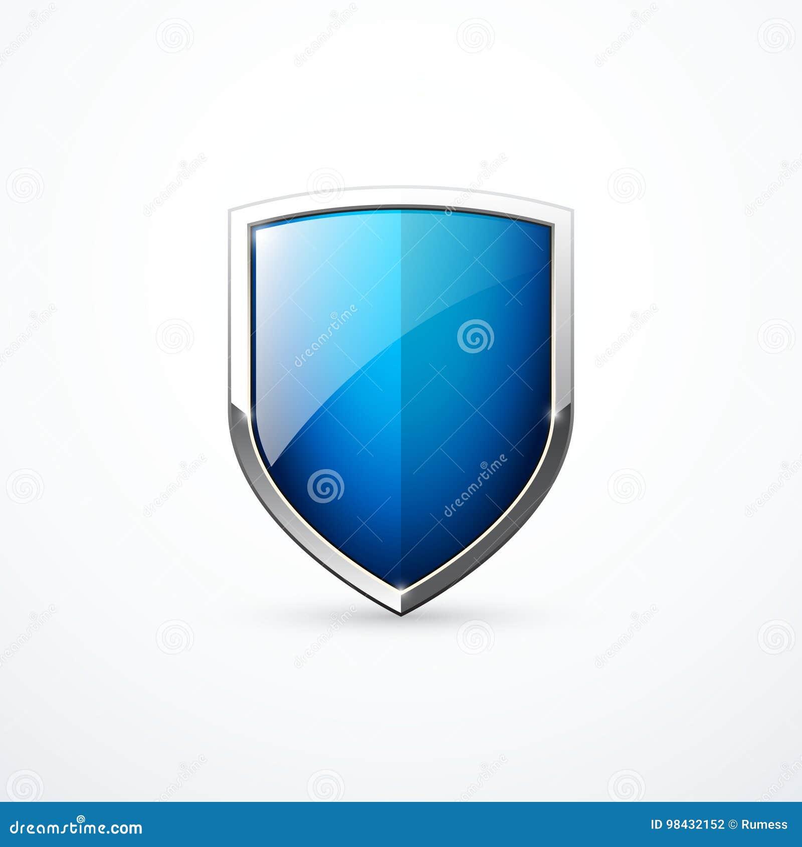 Icône bleue de bouclier de vecteur