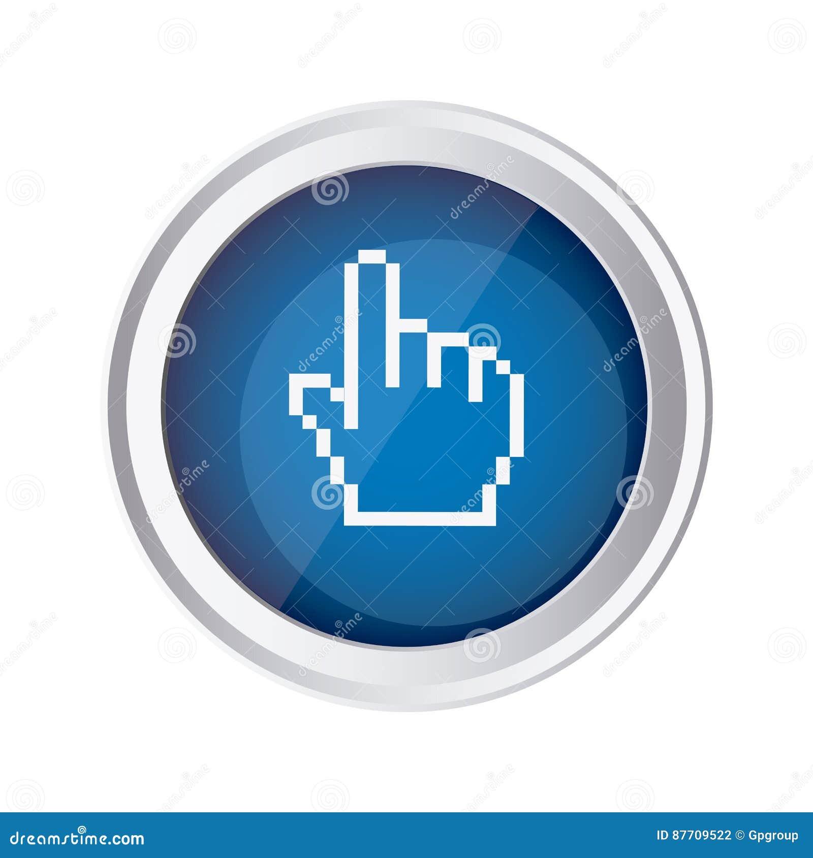 Icône bleue de curseur de main de souris d emblème