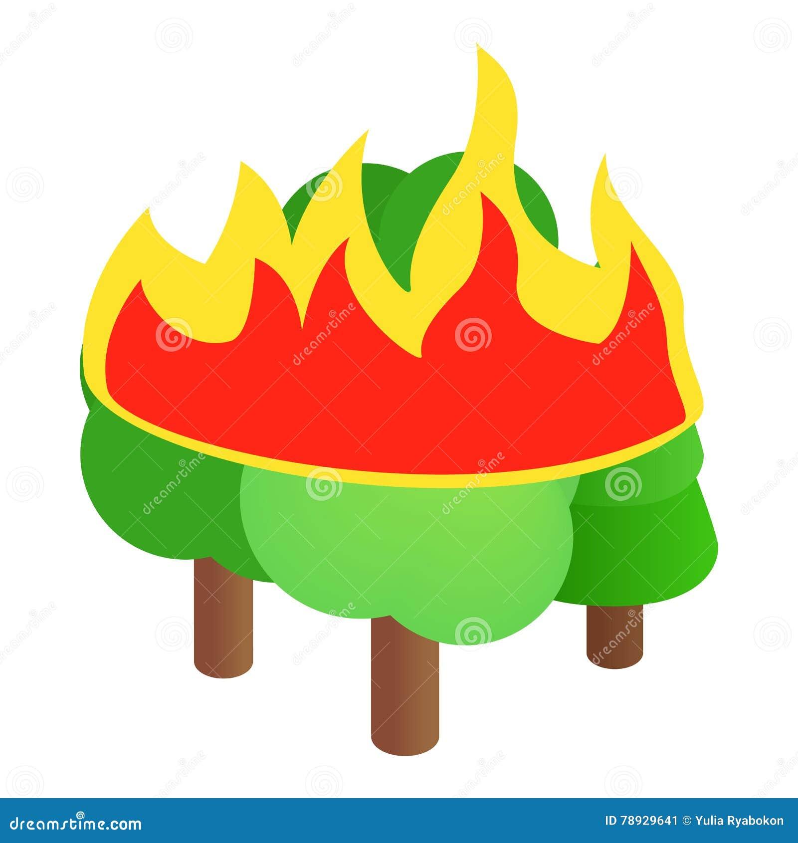 Icône brûlante d arbres forestiers, style 3d isométrique