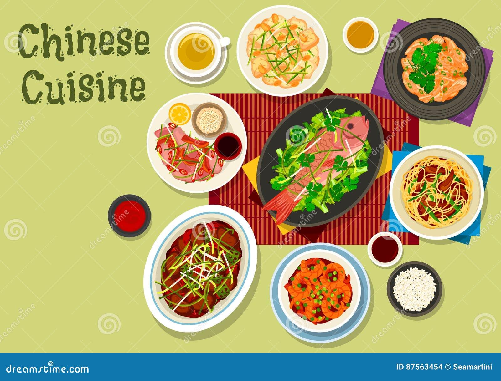 Icône Chinoise De Dîner De Cuisine Pour La Conception Asiatique De  Nourriture