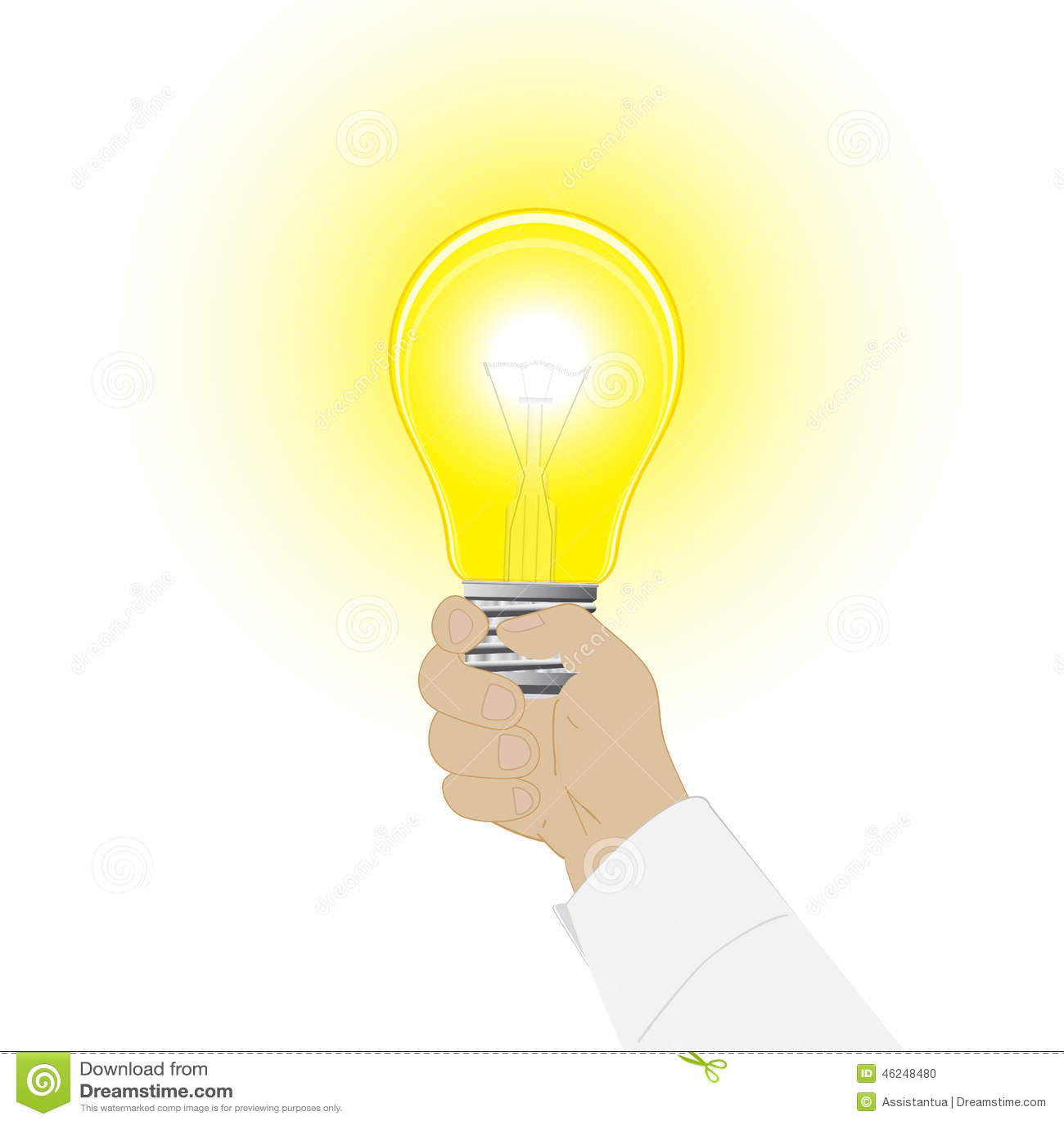 Icône conceptuelle de vecteur une ampoule dans une main de l homme