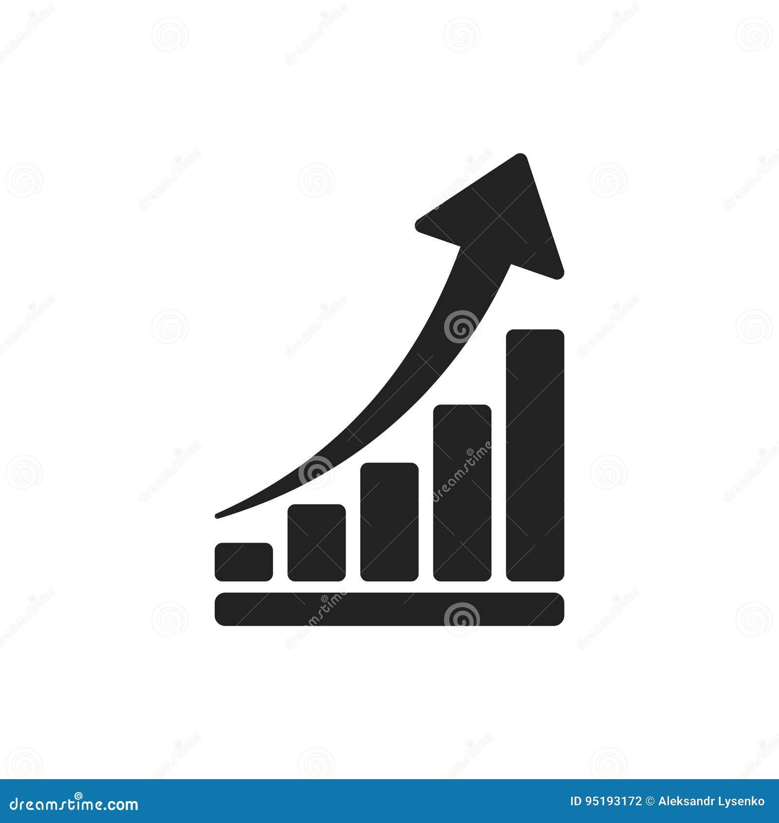 Icône d échelle de croissance Élevez l illustration plate de vecteur de diagramme Busine