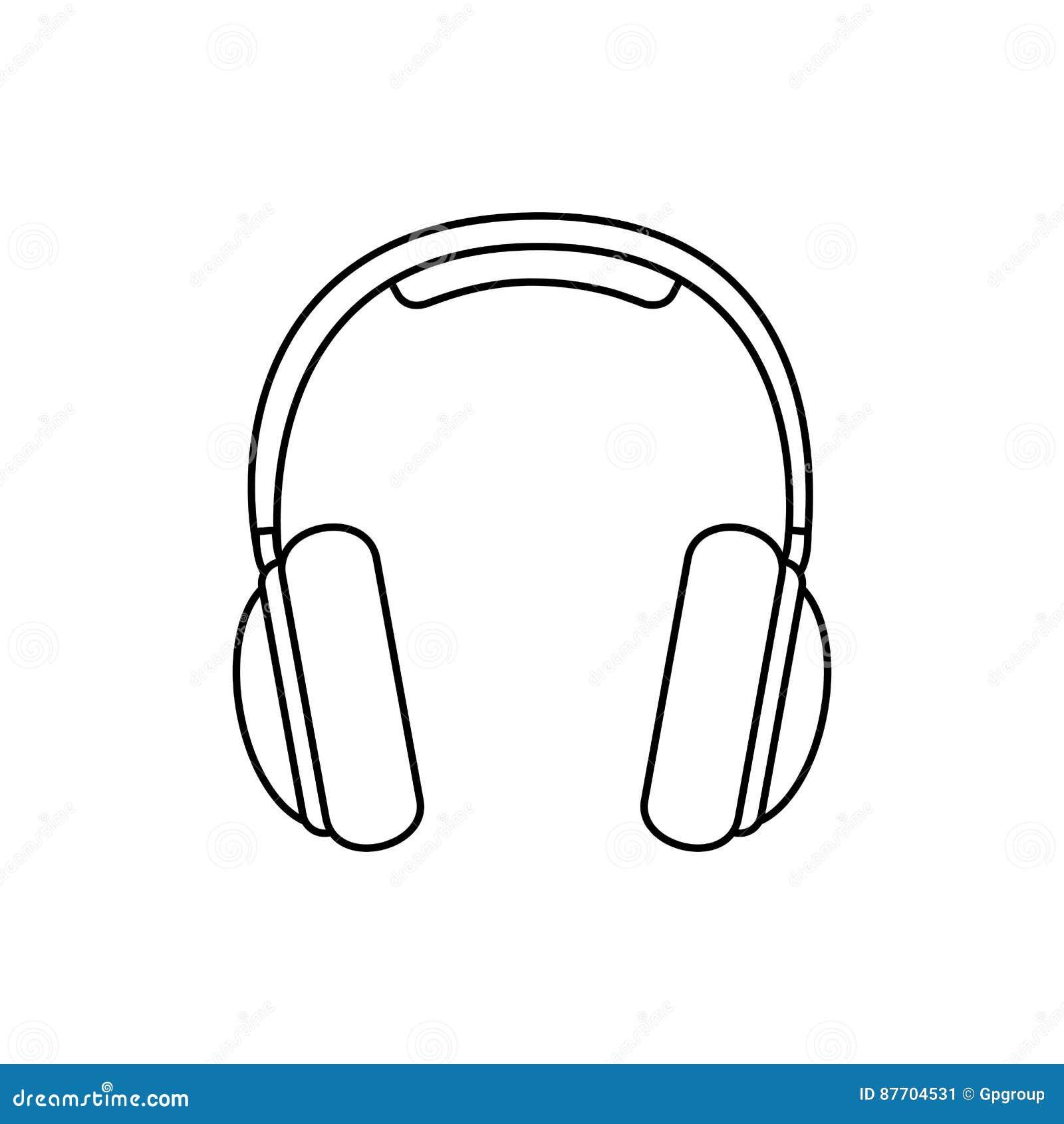 Icône d écouteurs de musique de silhouette plate