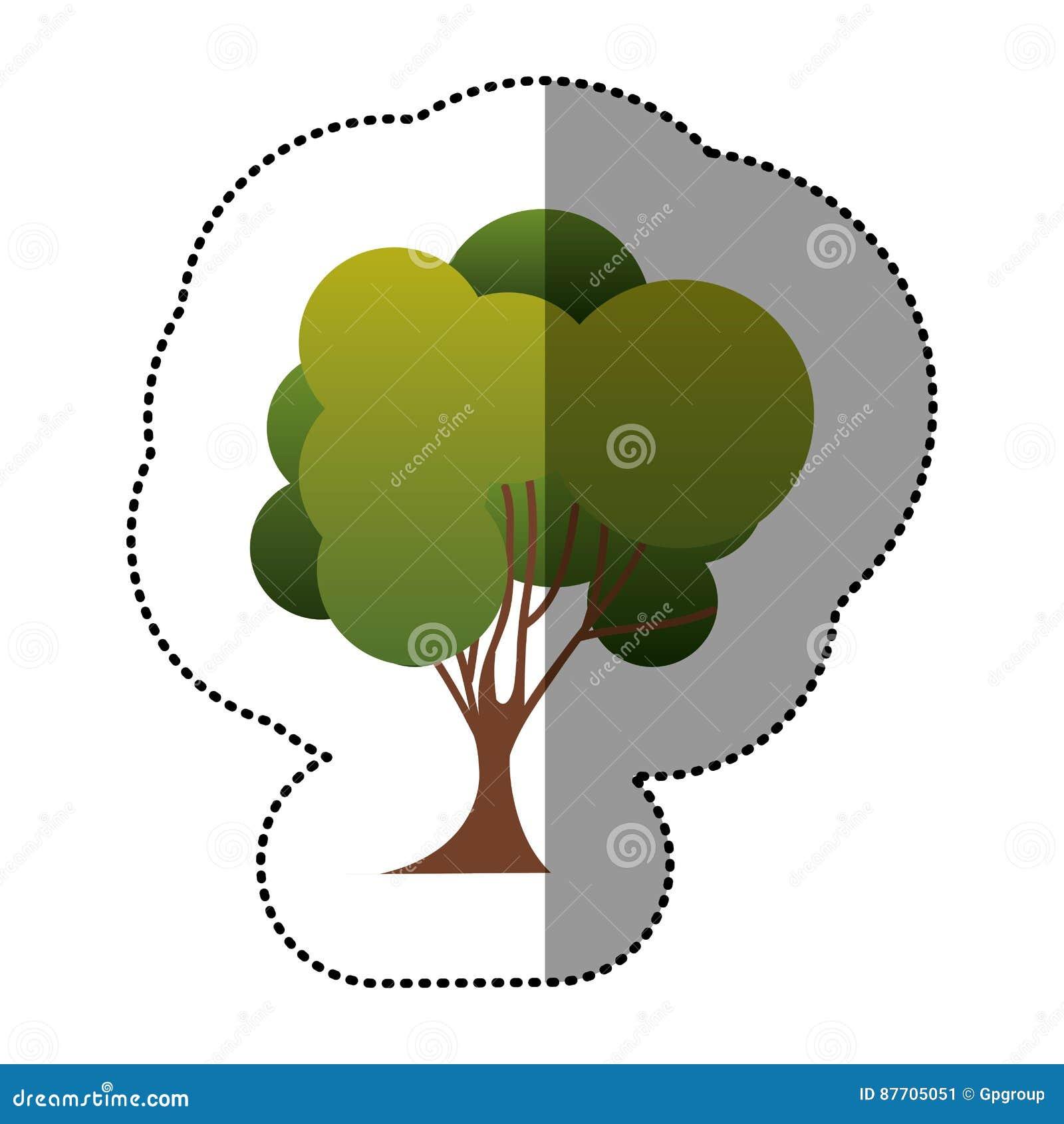 Icône d art d arbre de timbre de couleur