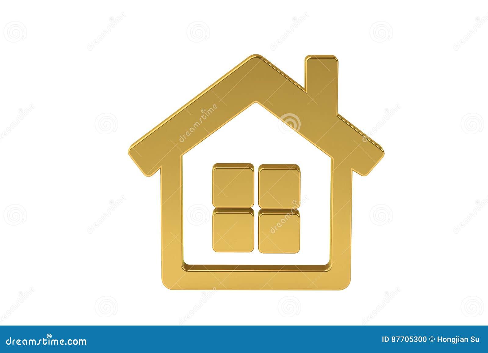 Icône d or de maison, illustration 3D