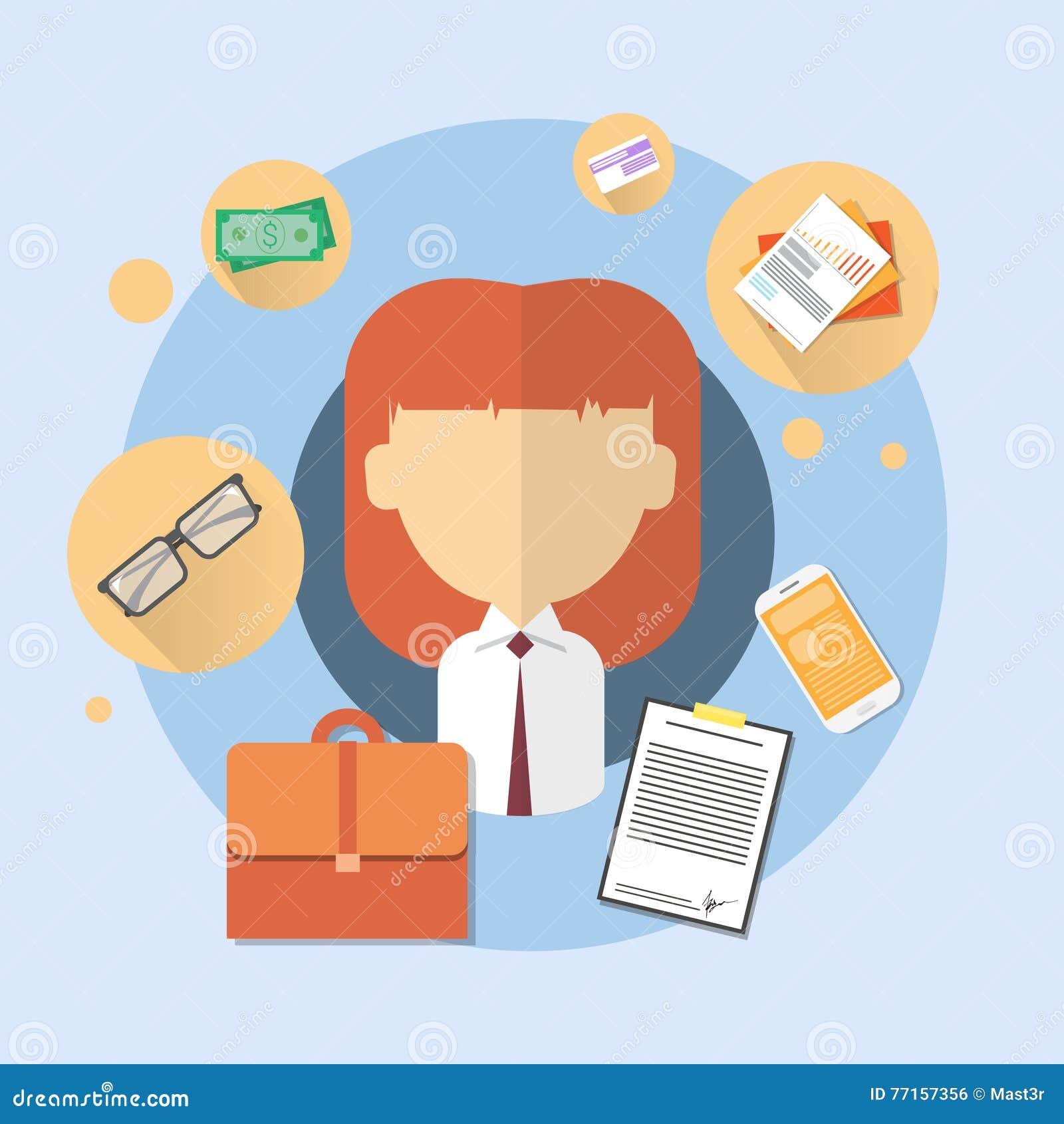 Icône d employé de bureau de banque de femme d affaires