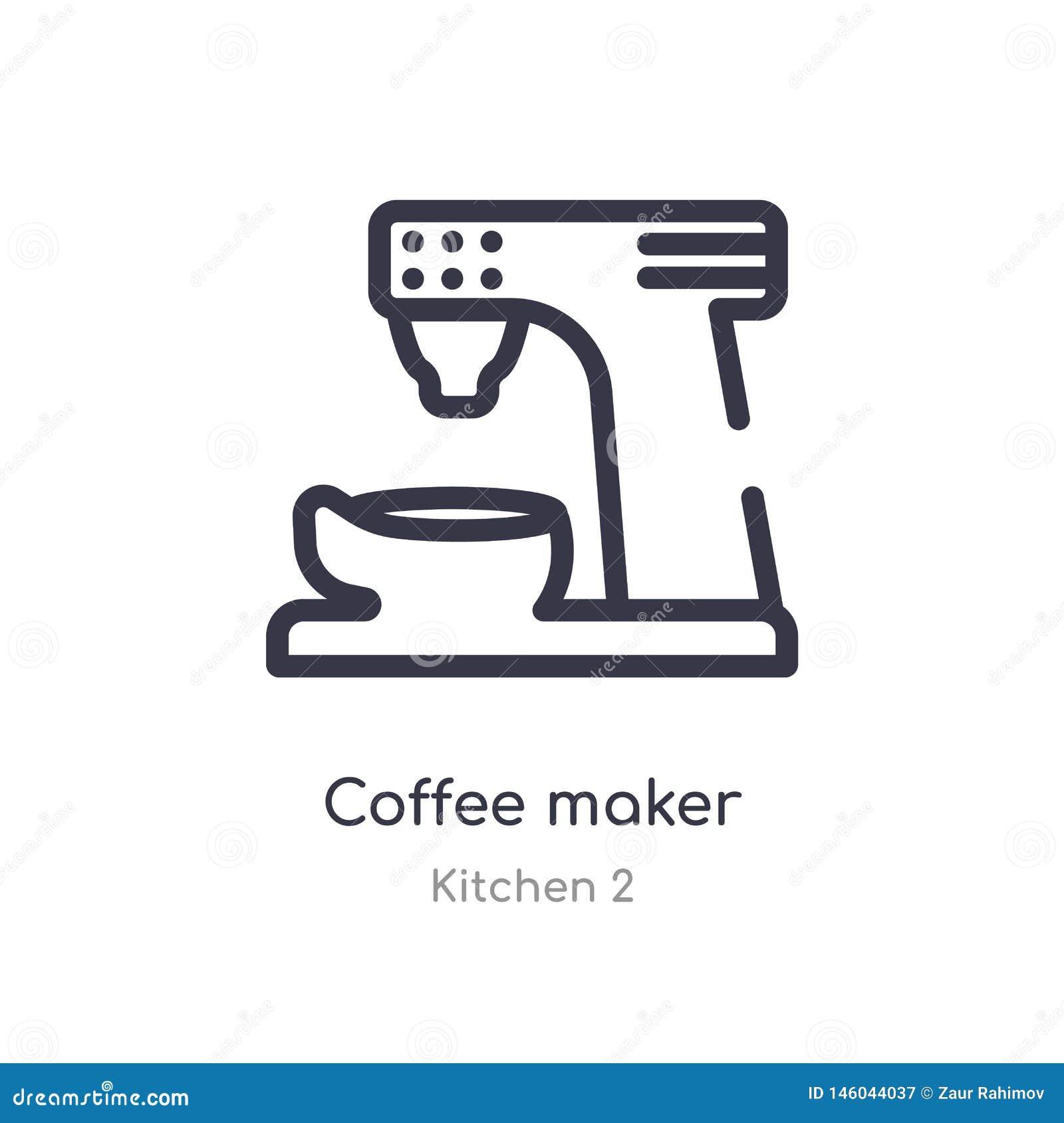 Ic?ne d ensemble de fabricant de caf? ligne d isolement illustration de vecteur de collection de la cuisine 2 icône mince editabl