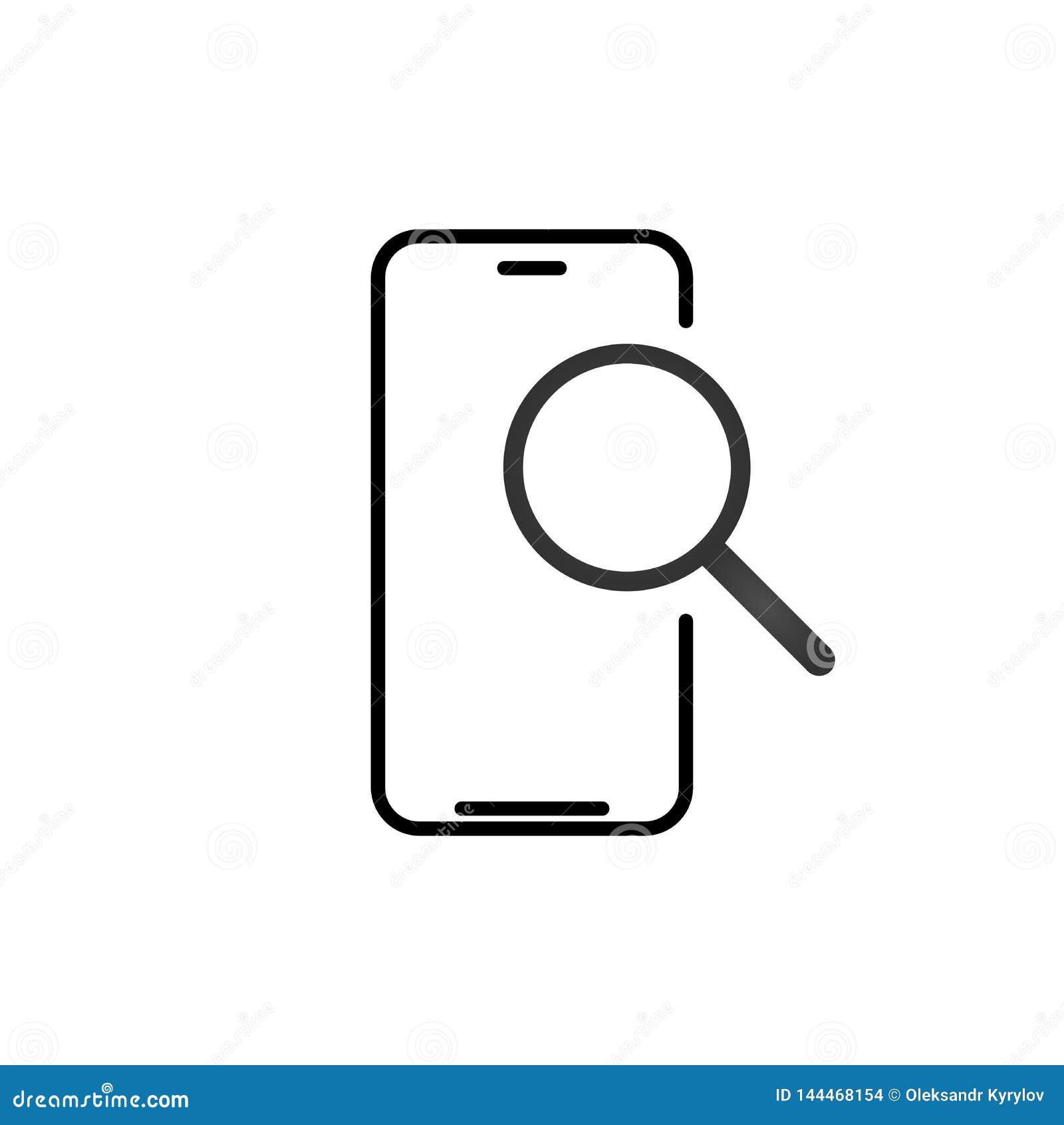 Ic?ne d ensemble de recherche de t?l?phone portable signe lin?aire de style pour le concept et le web design mobiles E