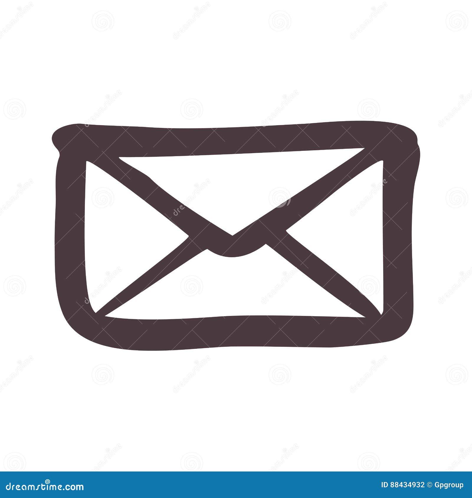 Dessin D Enveloppe icône d'enveloppe de silhouette de dessin de main illustration stock