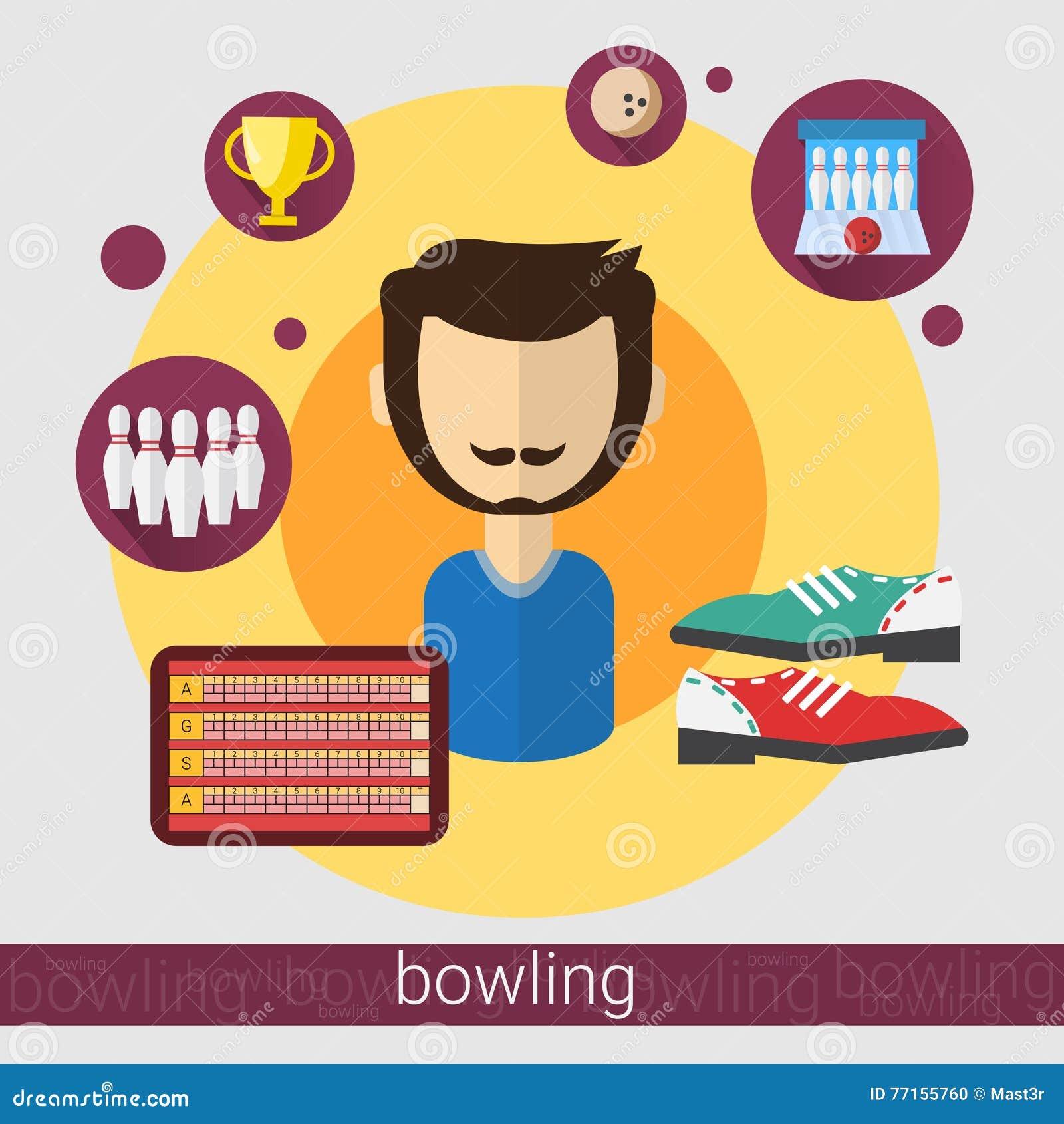 Icône d homme de joueur de jeu de bowling