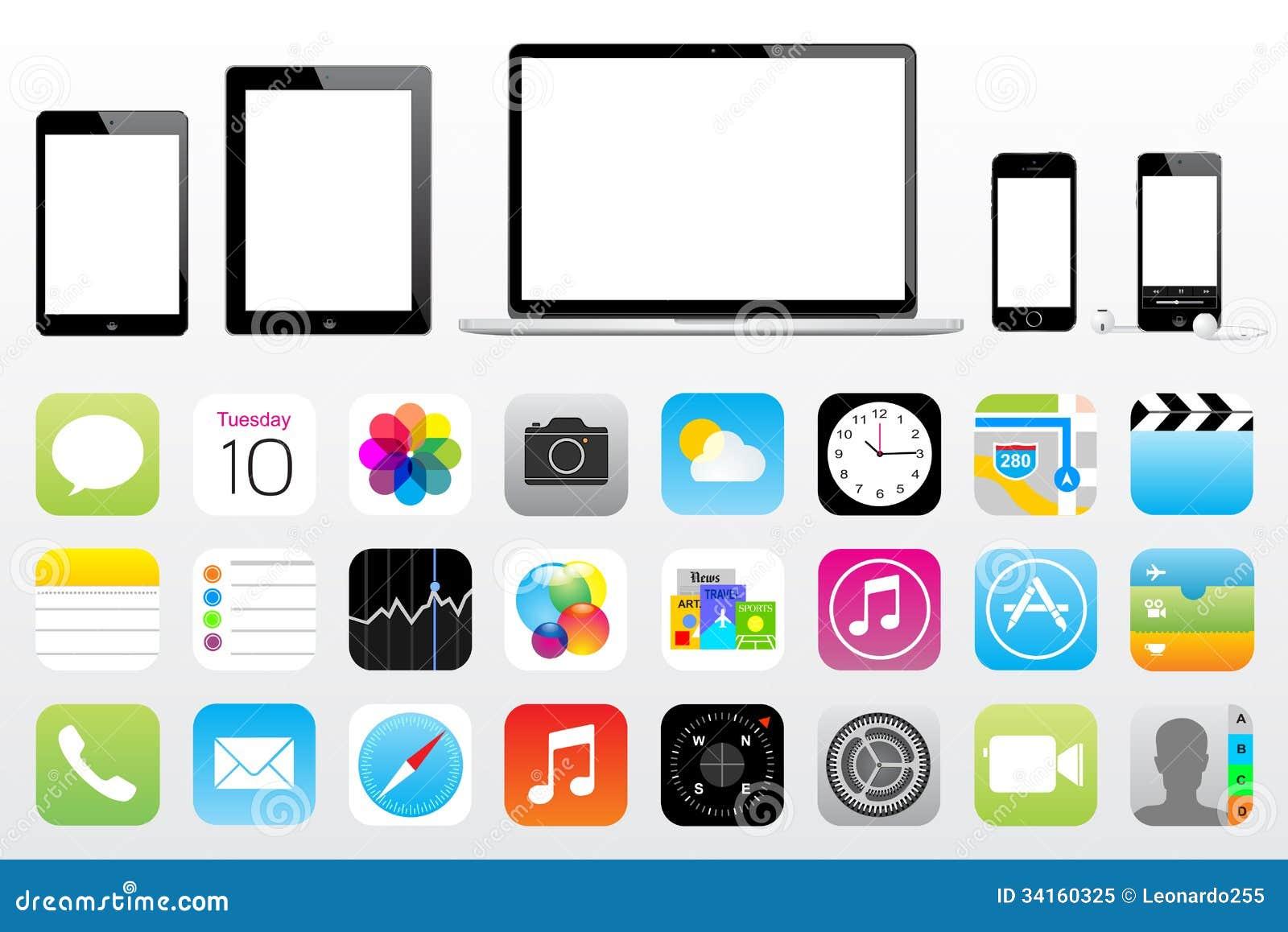 ic ne d 39 imper d 39 ipod d 39 iphone d 39 ipad d 39 apple mini image ditorial illustration du graphisme. Black Bedroom Furniture Sets. Home Design Ideas