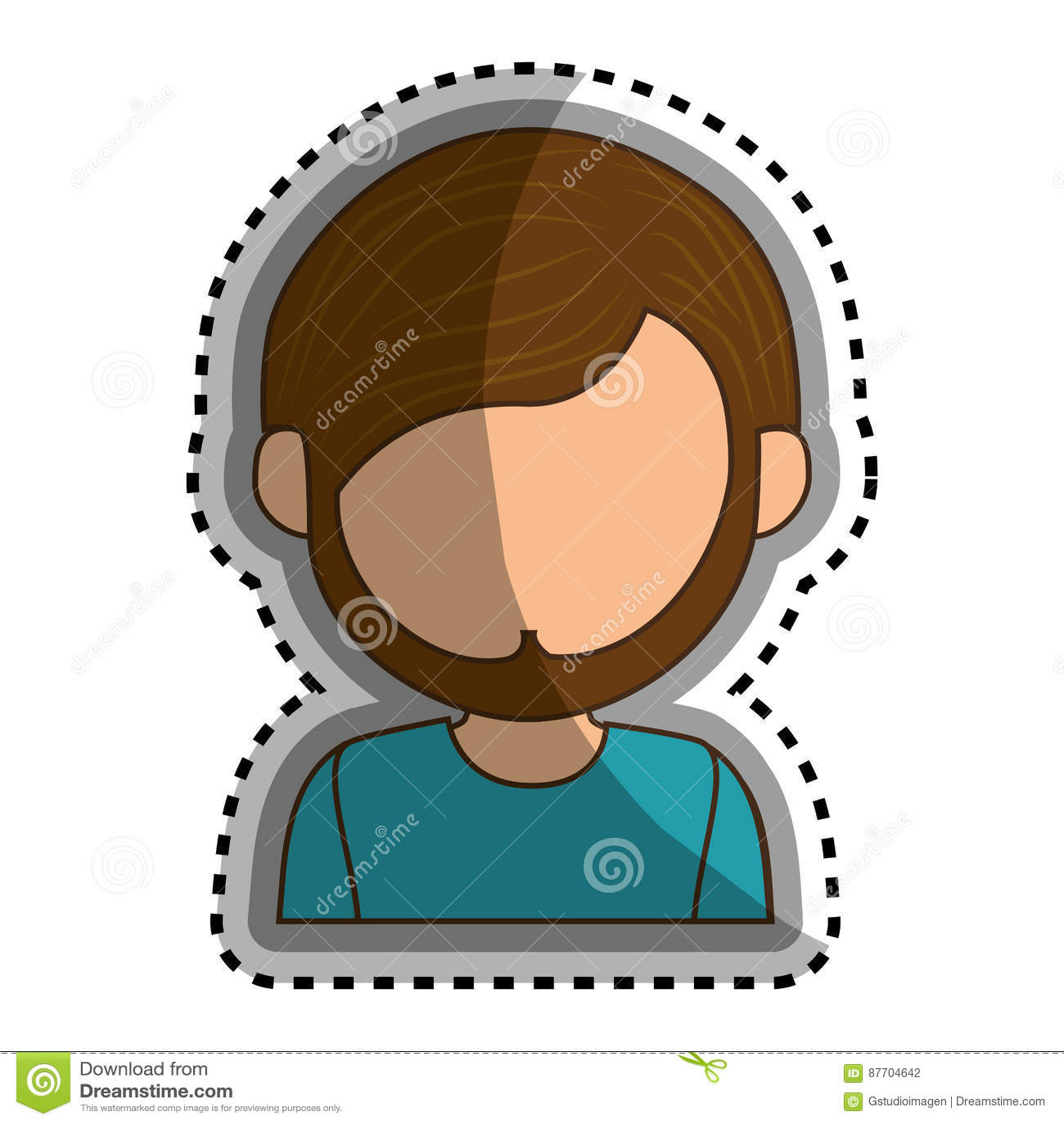 Icône d isolement par caractère d avatar d homme