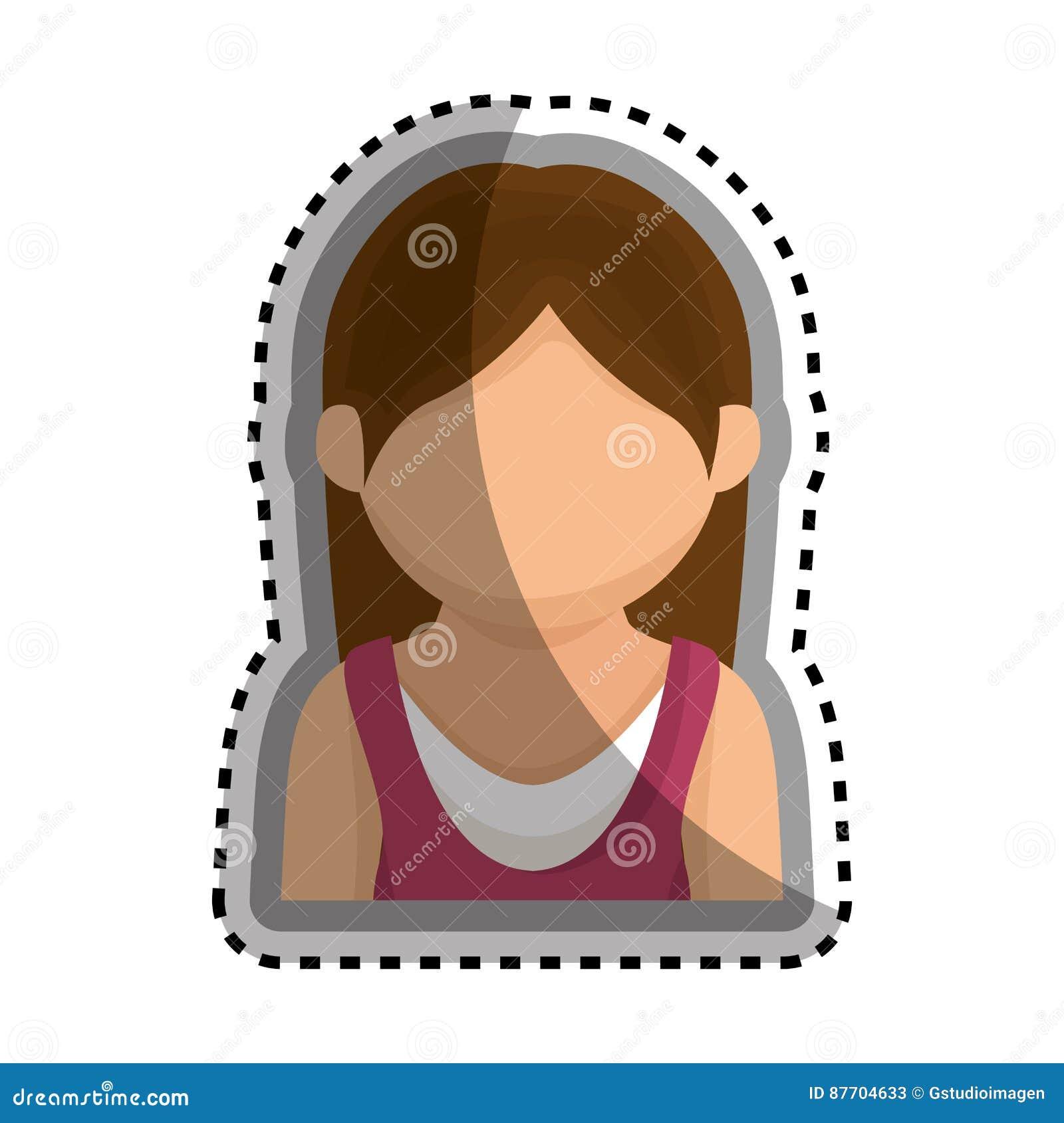 Icône d isolement par caractère d avatar de femme