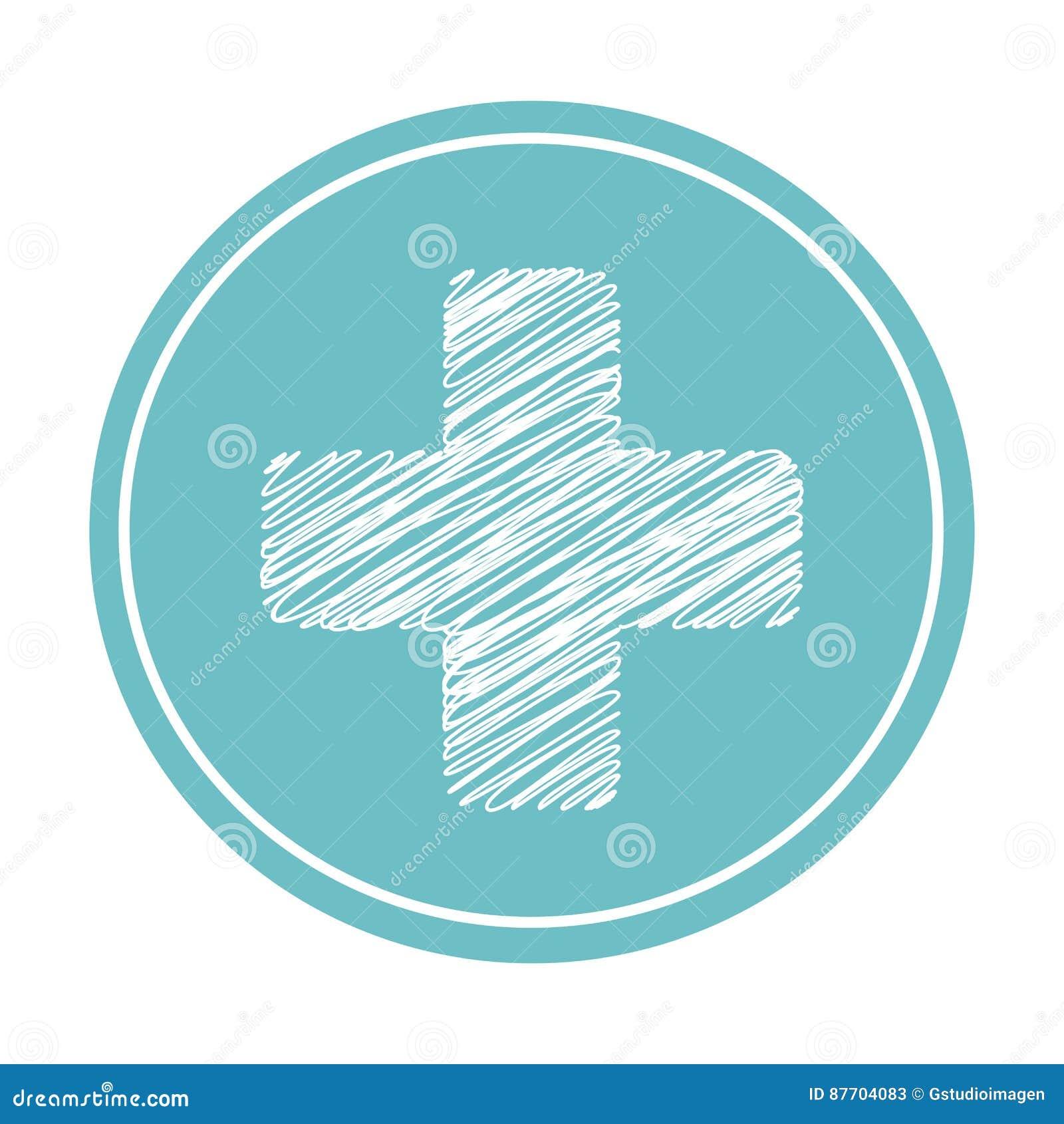 Icône d isolement par symbole médical croisé