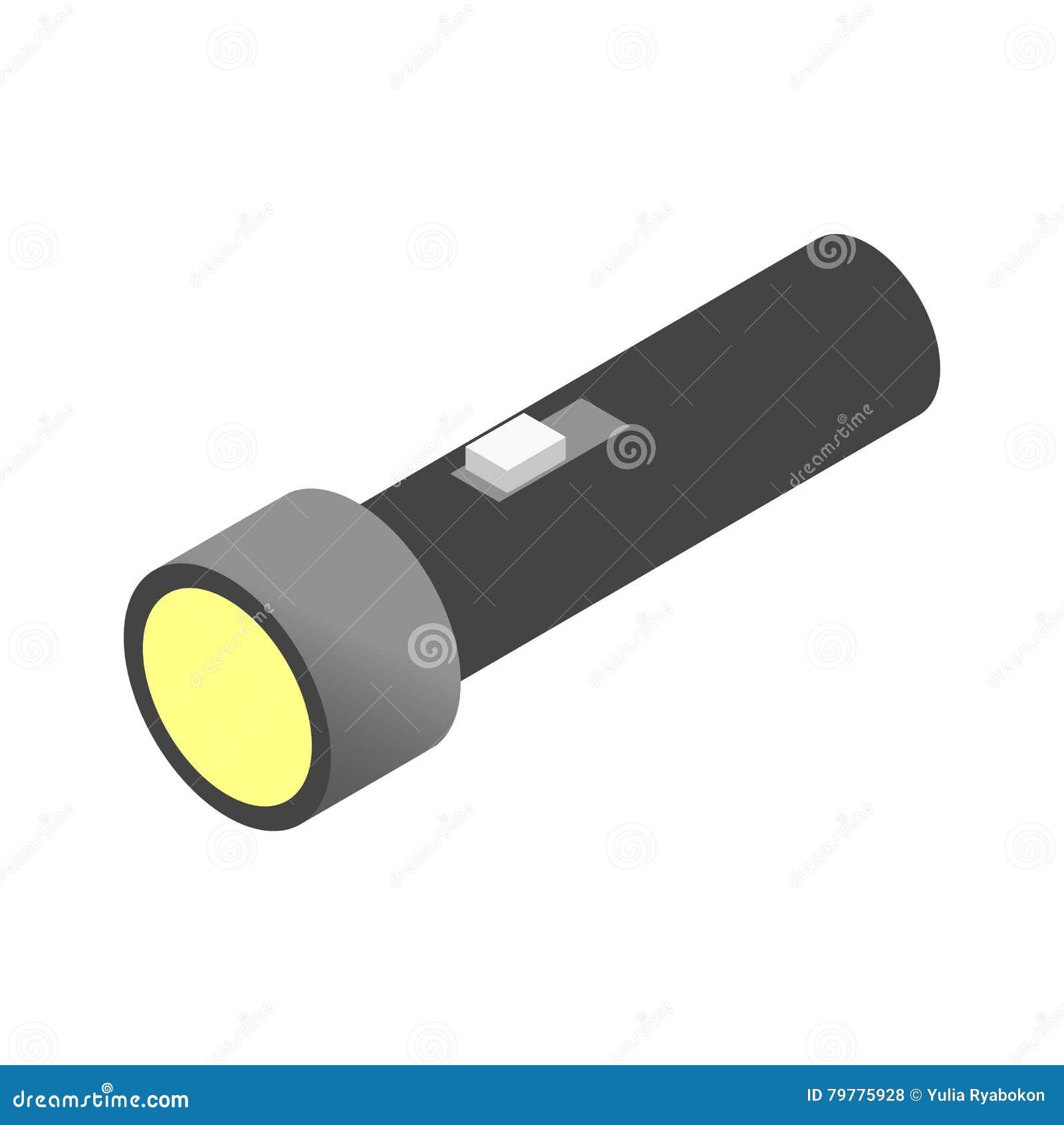 Icône 3d isométrique de lampe-torche