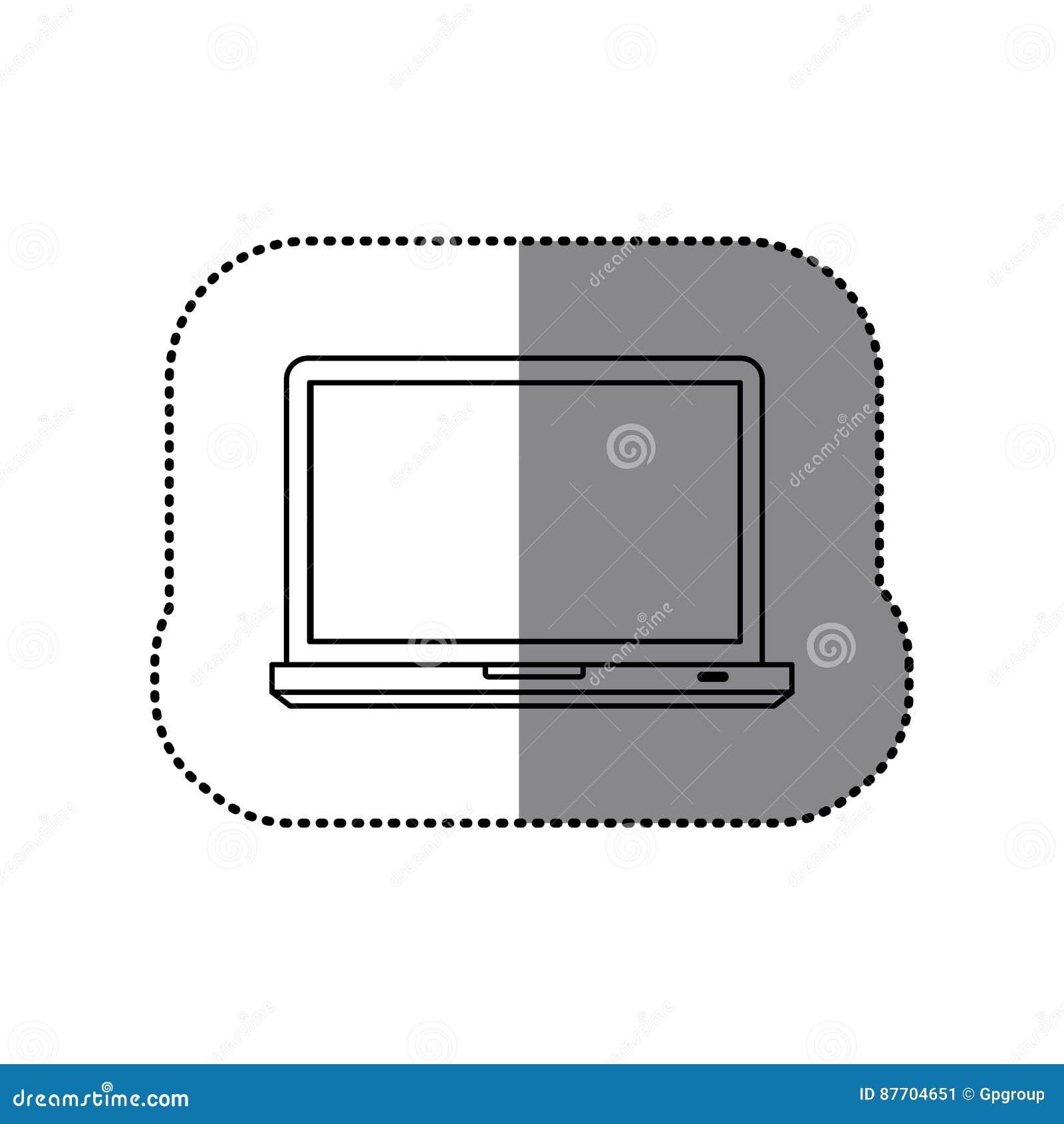 Icône d ordinateur portable de technologie de silhouette d autocollant