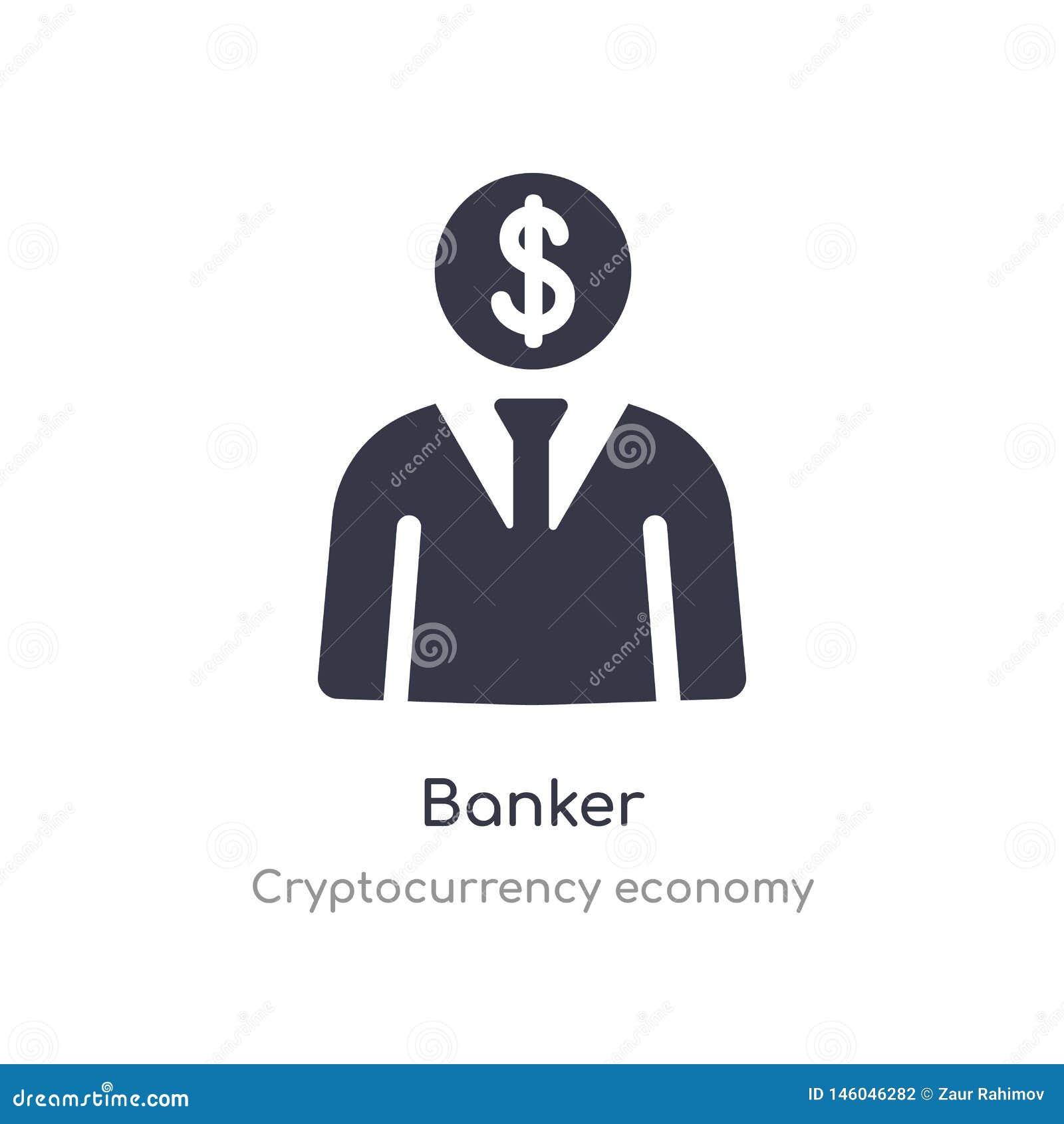 Ic?ne de banquier illustration d isolement de vecteur d icône de banquier de collection d économie de cryptocurrency editable cha