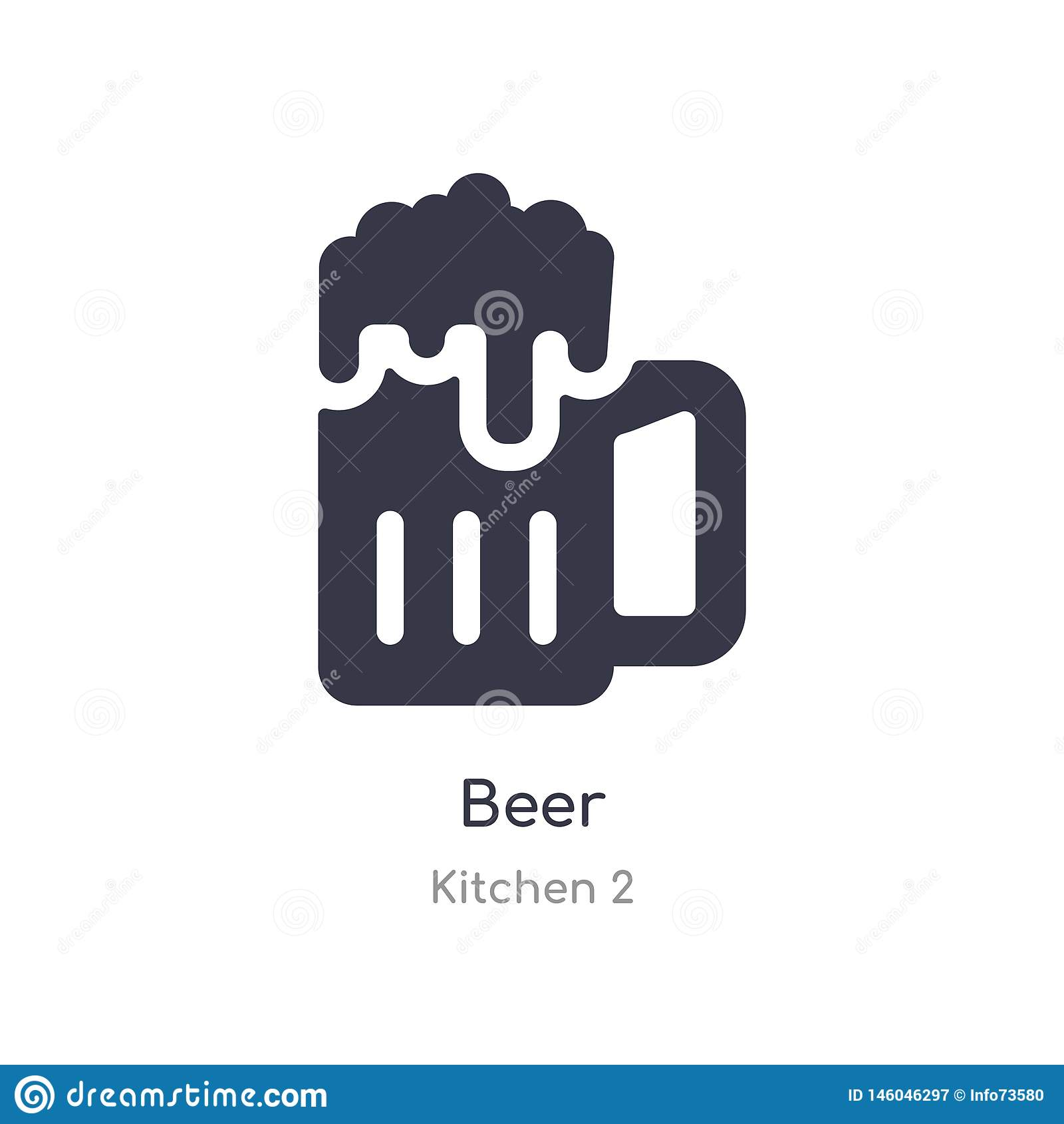 Ic?ne de bi?re illustration d isolement de vecteur d icône de bière de collection de la cuisine 2 editable chantez le symbole peu