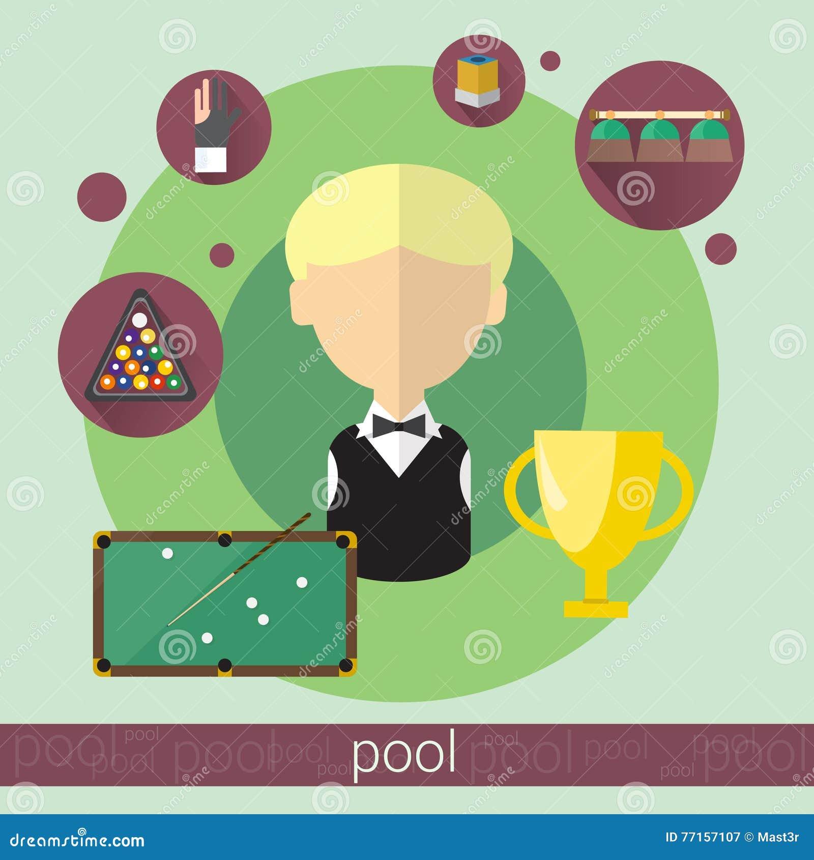 Icône de billards de garçon de joueur de jeu de piscine