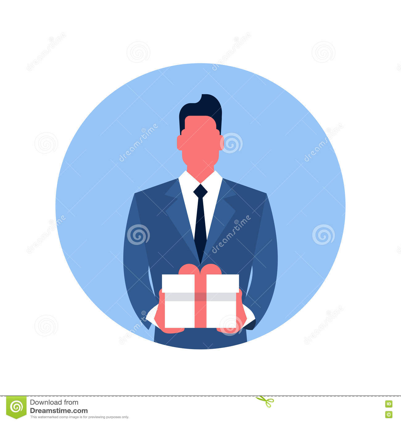 Icône de boîte de présent de prise d homme d affaires