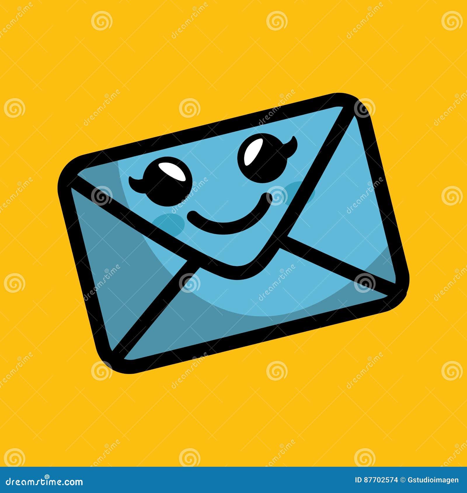 Icône de caractère comique d enveloppe