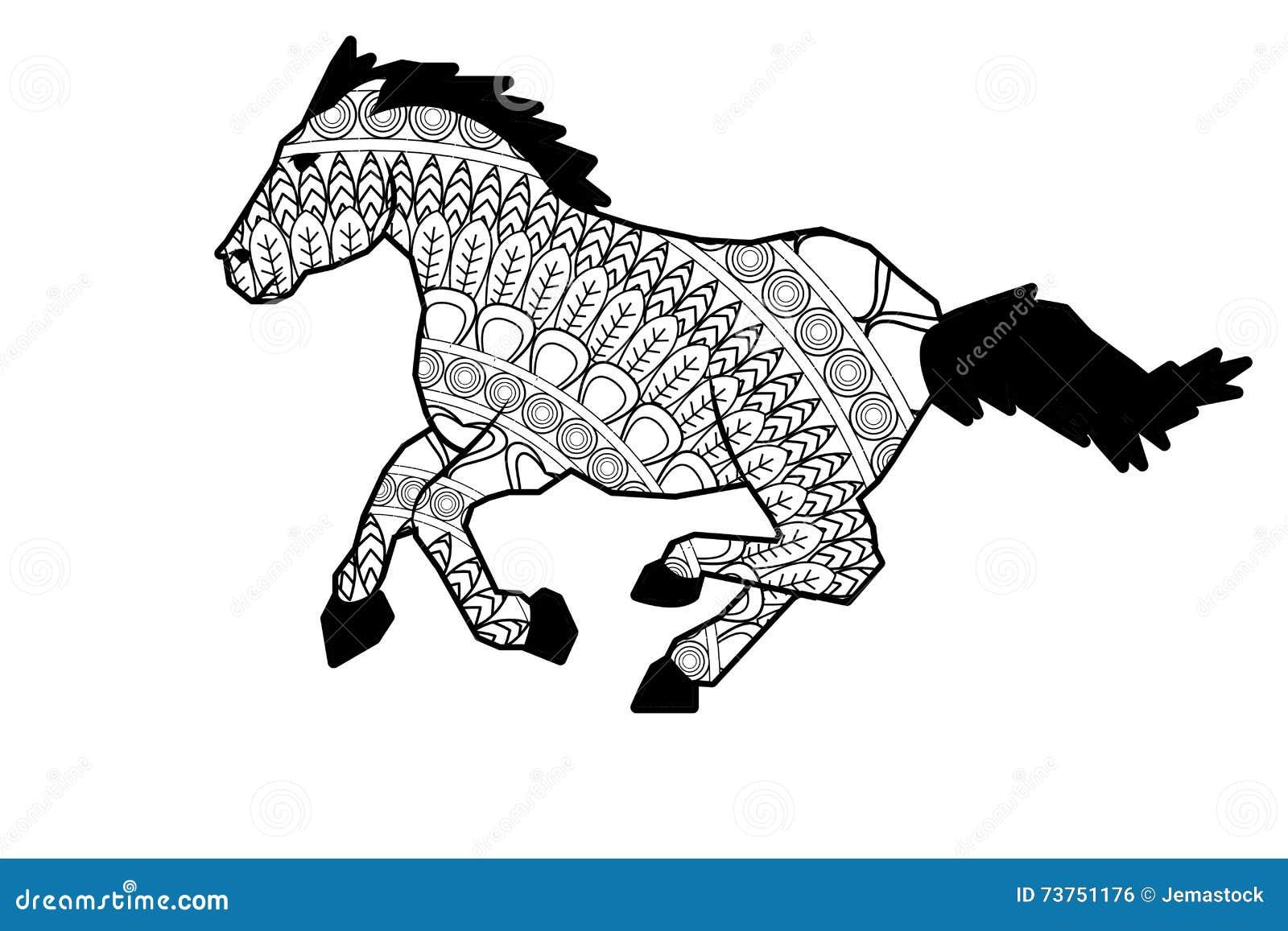Ic ne de cheval de mandala photo stock image du chemin 73751176 - Mandala cheval ...