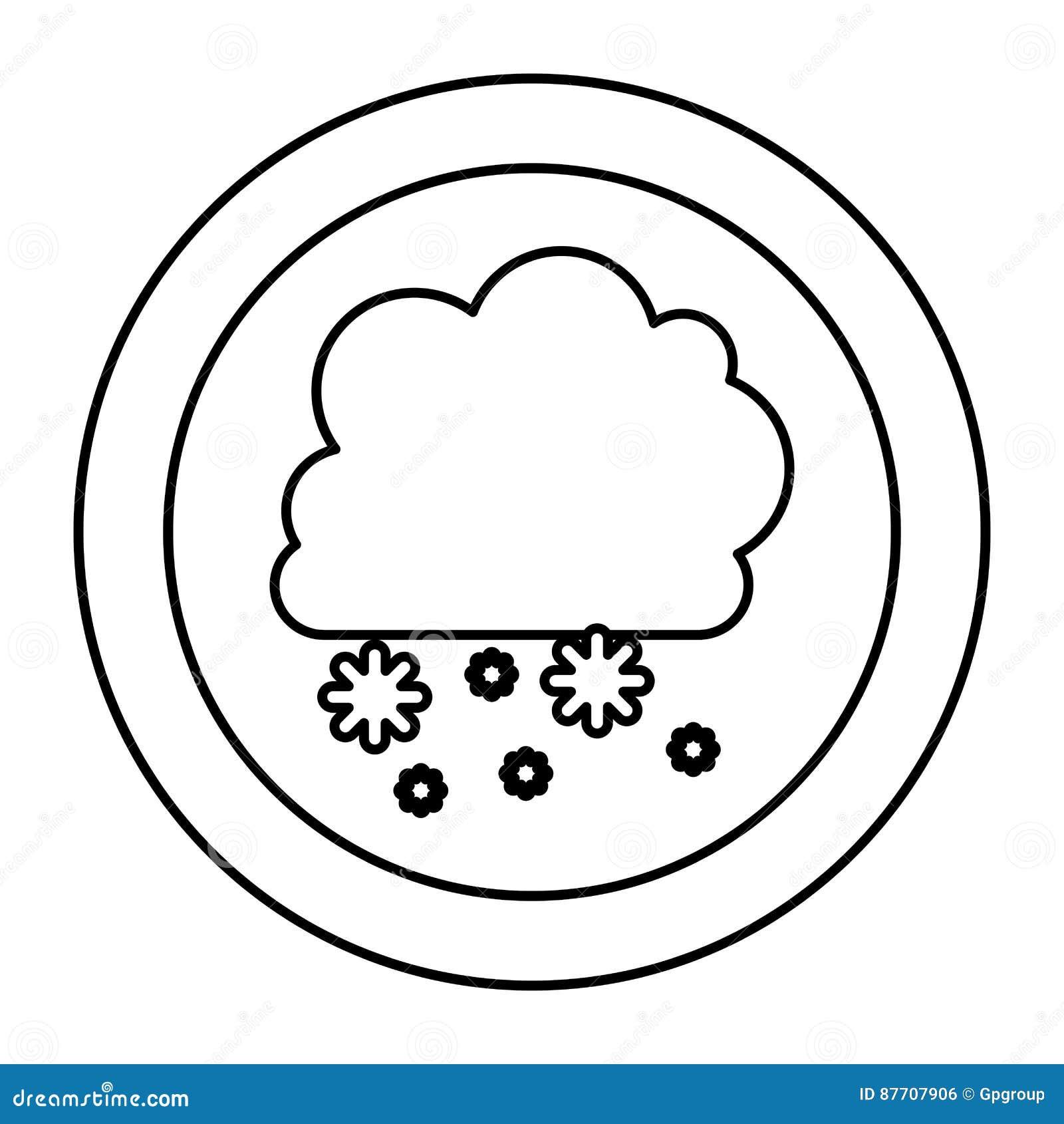Icône de chute de neige de nuage de silhouette