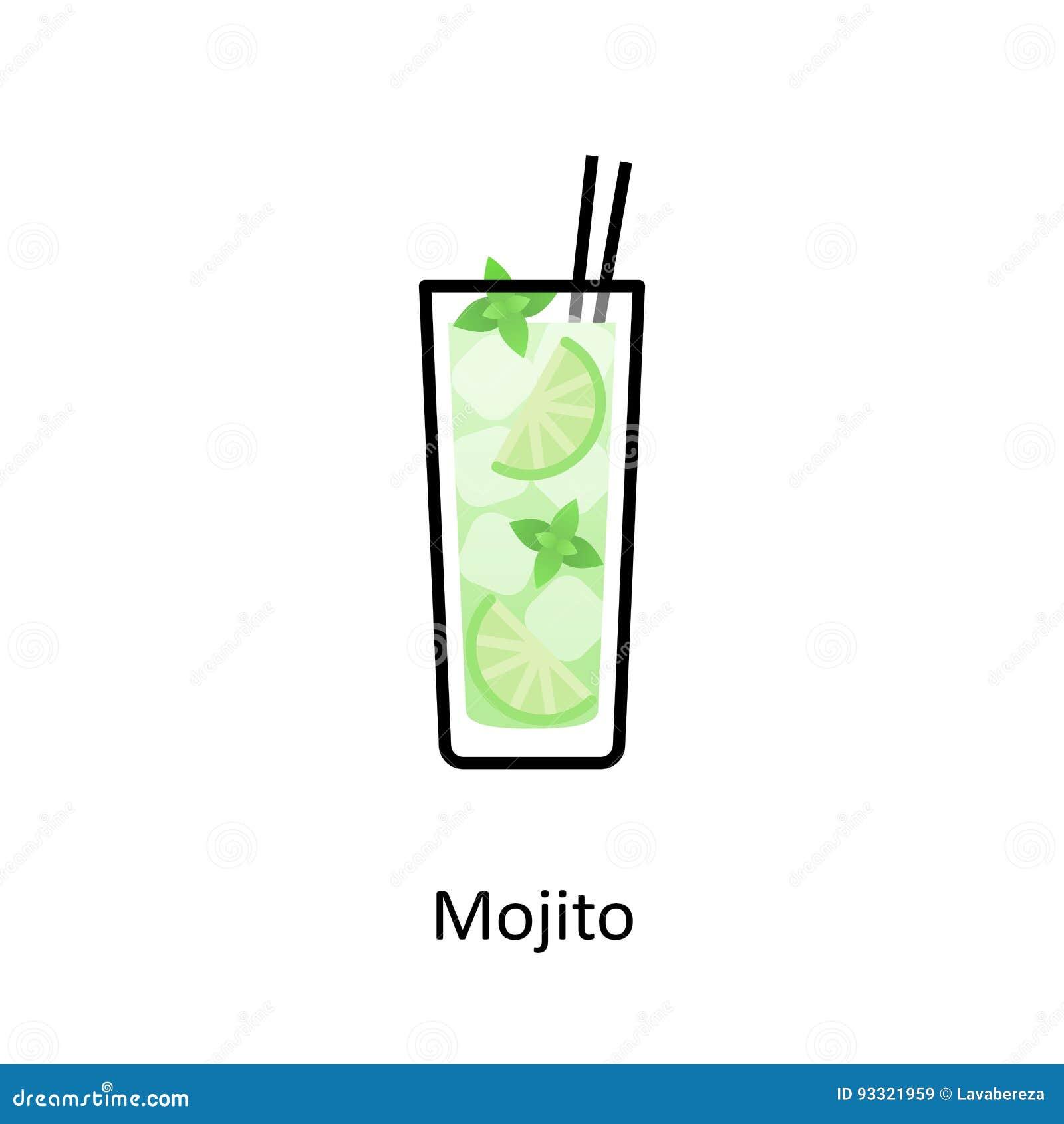 Icone De Cocktail De Mojito Dans Le Style Plat Illustration