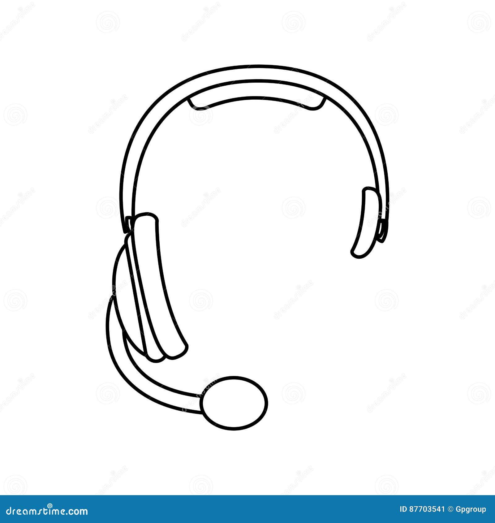 Icône de communication d écouteurs de silhouette de croquis