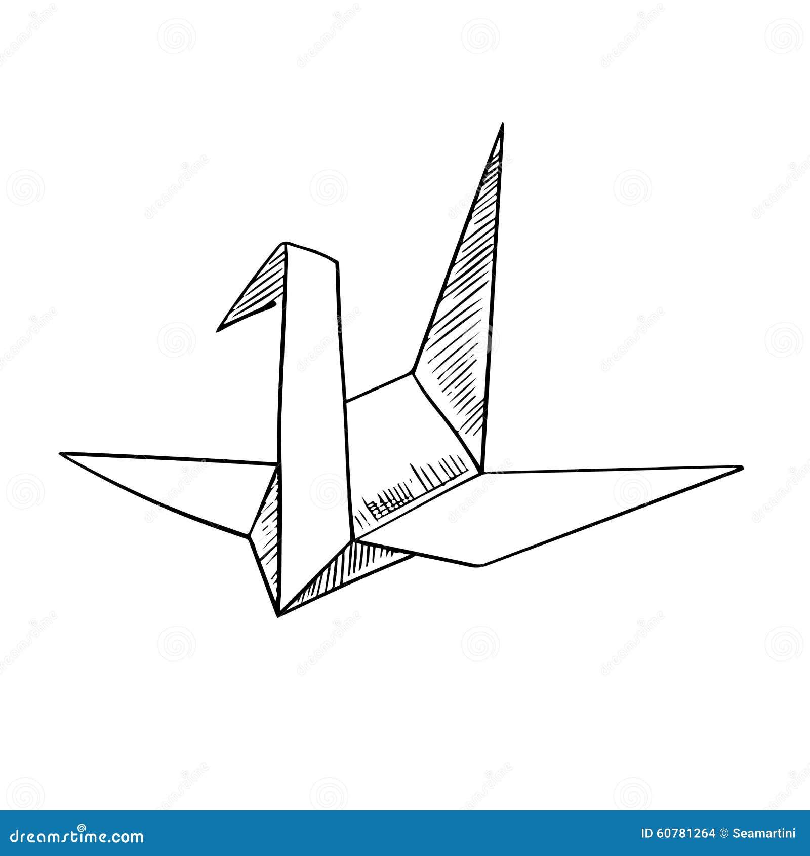 ic ne de croquis d 39 oiseau de papier de grue d 39 origami illustration de vecteur image 60781264. Black Bedroom Furniture Sets. Home Design Ideas