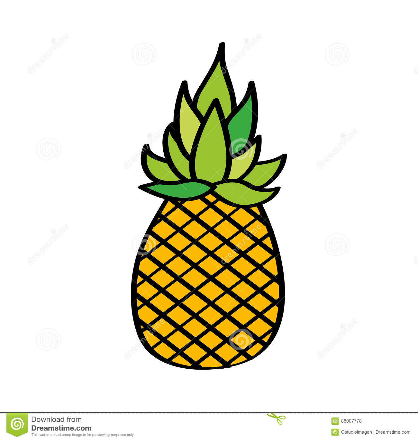 Icône De Dessin De Fruit Frais D Ananas Illustration De