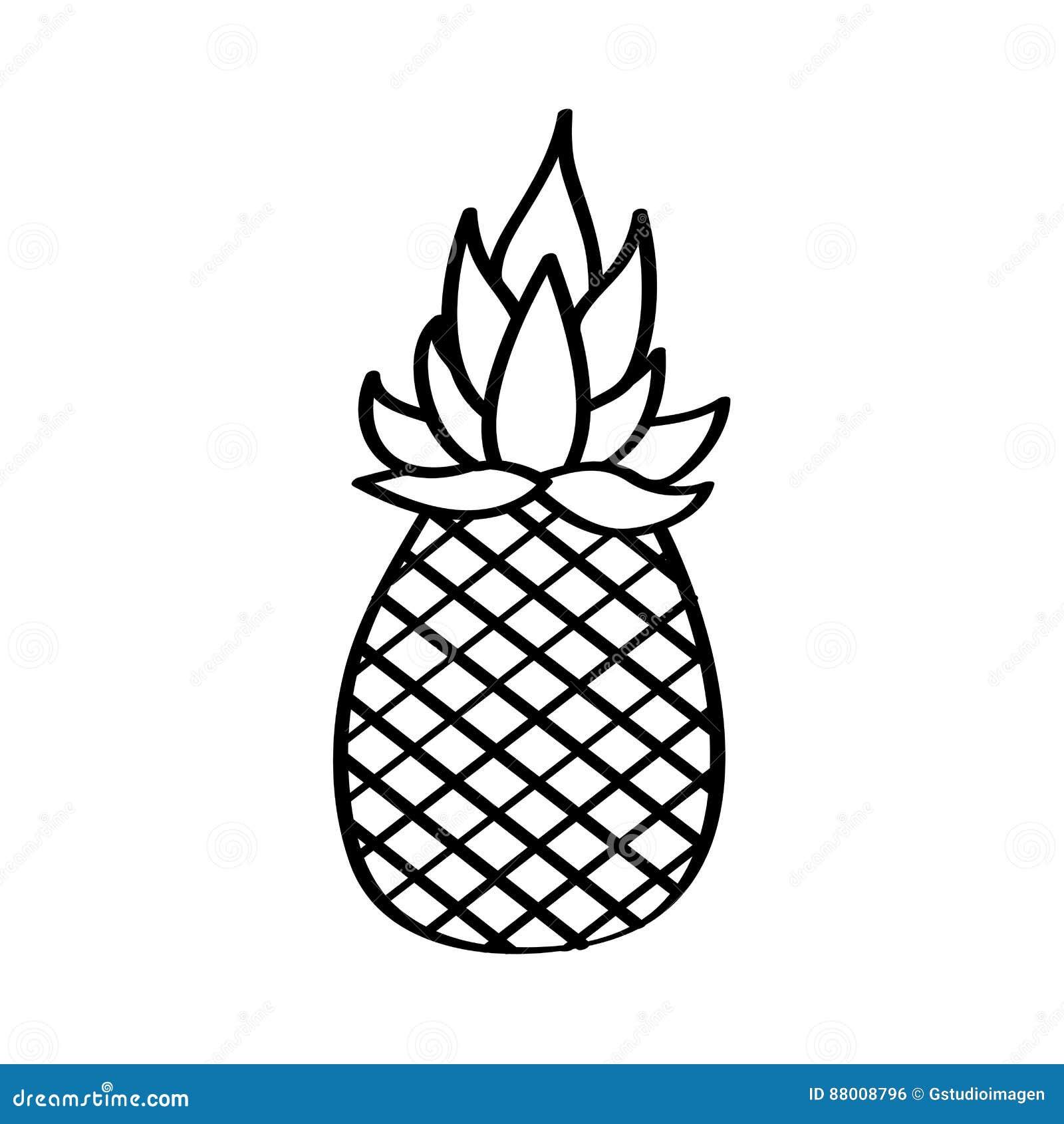 Icône De Dessin De Fruit Frais Dananas Illustration De