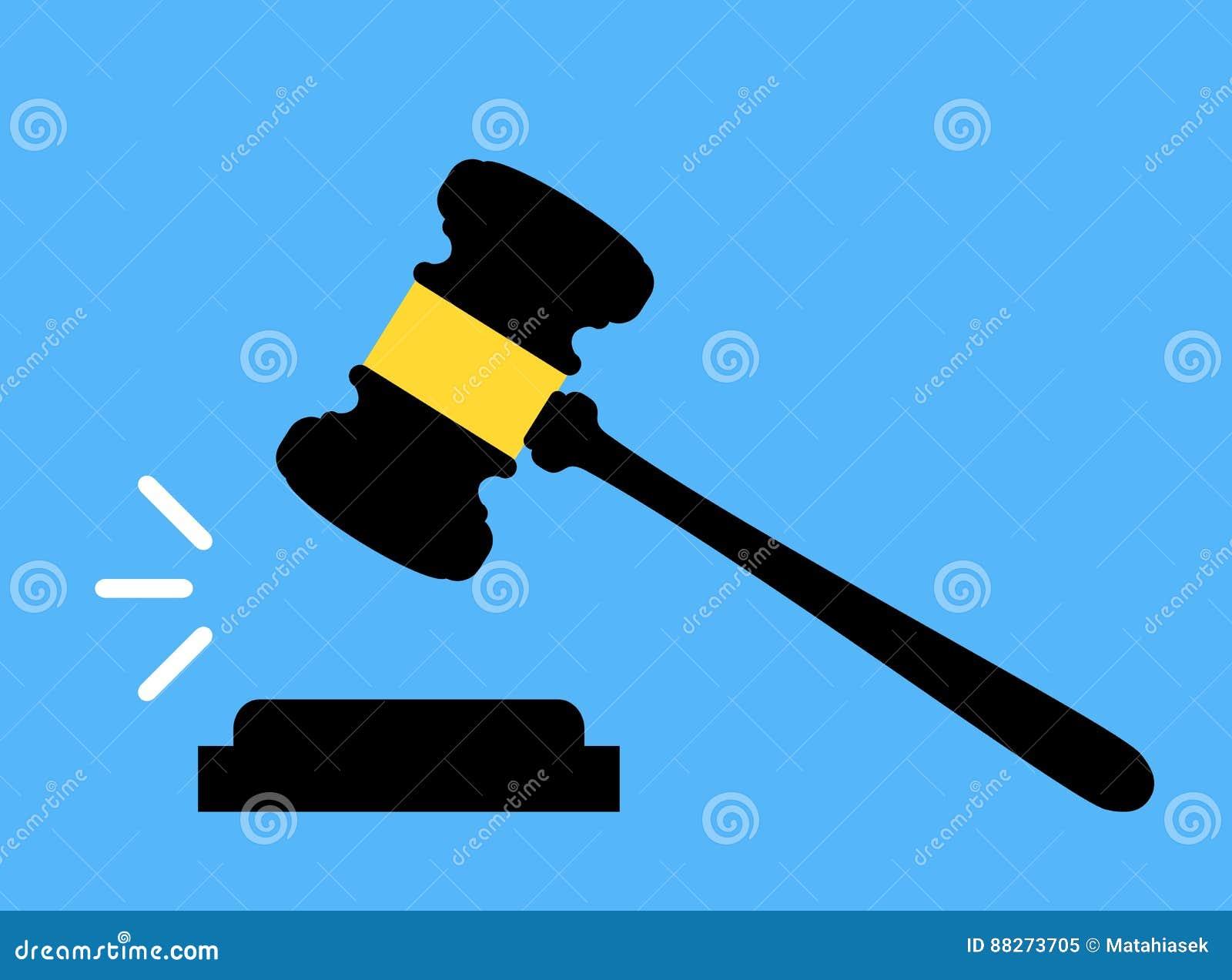 Icône de Gavel Cour, offre, jugement, et concepts de vente aux enchères Jugez le marteau Marteau de vente aux enchères