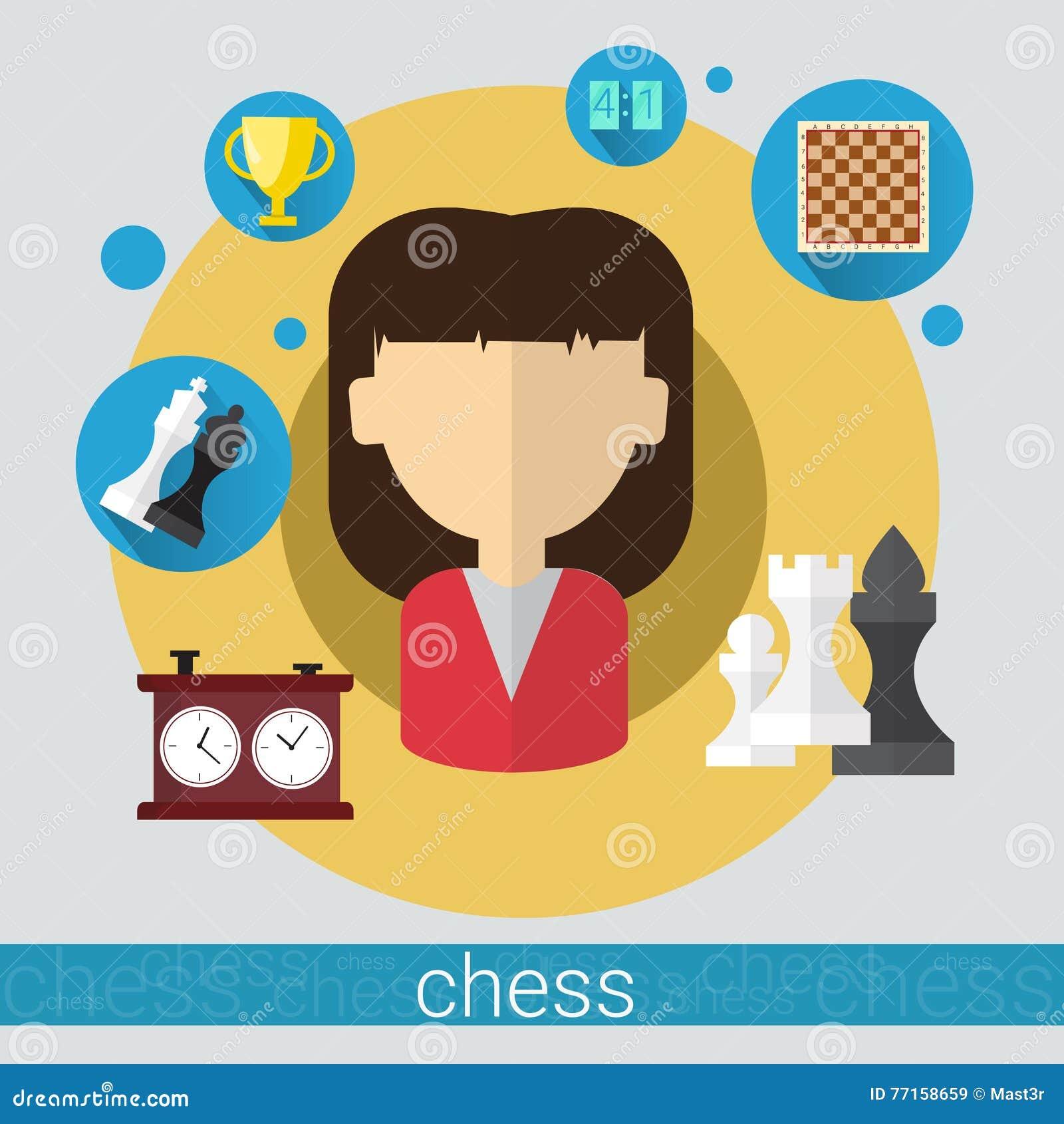 Icône de jeune femme de joueur de jeu d échecs