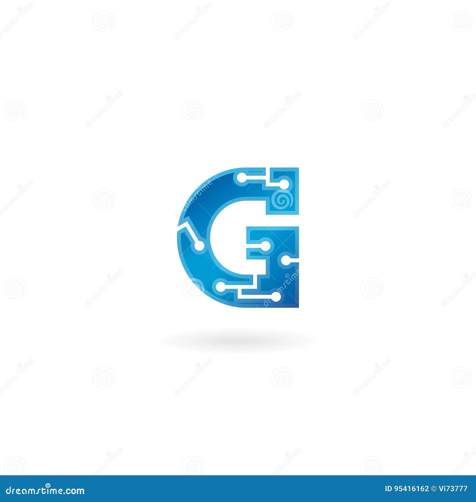 Icône de la lettre G Le logo futé, l ordinateur et les données de technologie ont rapporté des affaires, de pointe et innovateur,